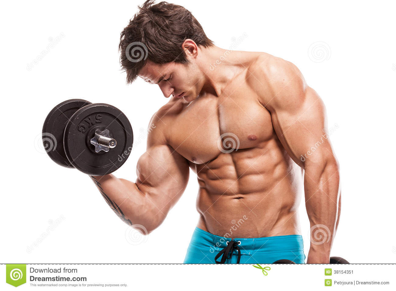 Download Muscular Bodybuilder Guy Doing Exercises With Dumbbells Over Whi Stock Image - Image of caucasian, sixpack: 38154351