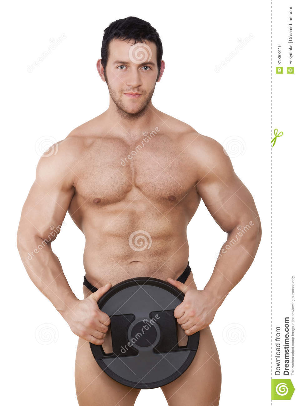 Muscular bodybuilder. stock photo. Image of person, posing
