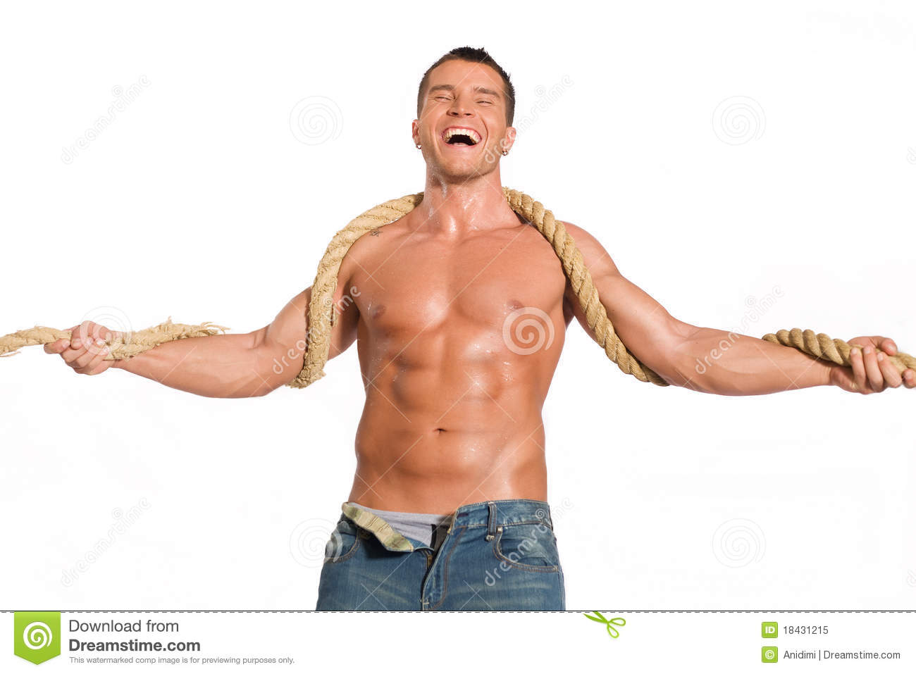 Muscular builder man with rope