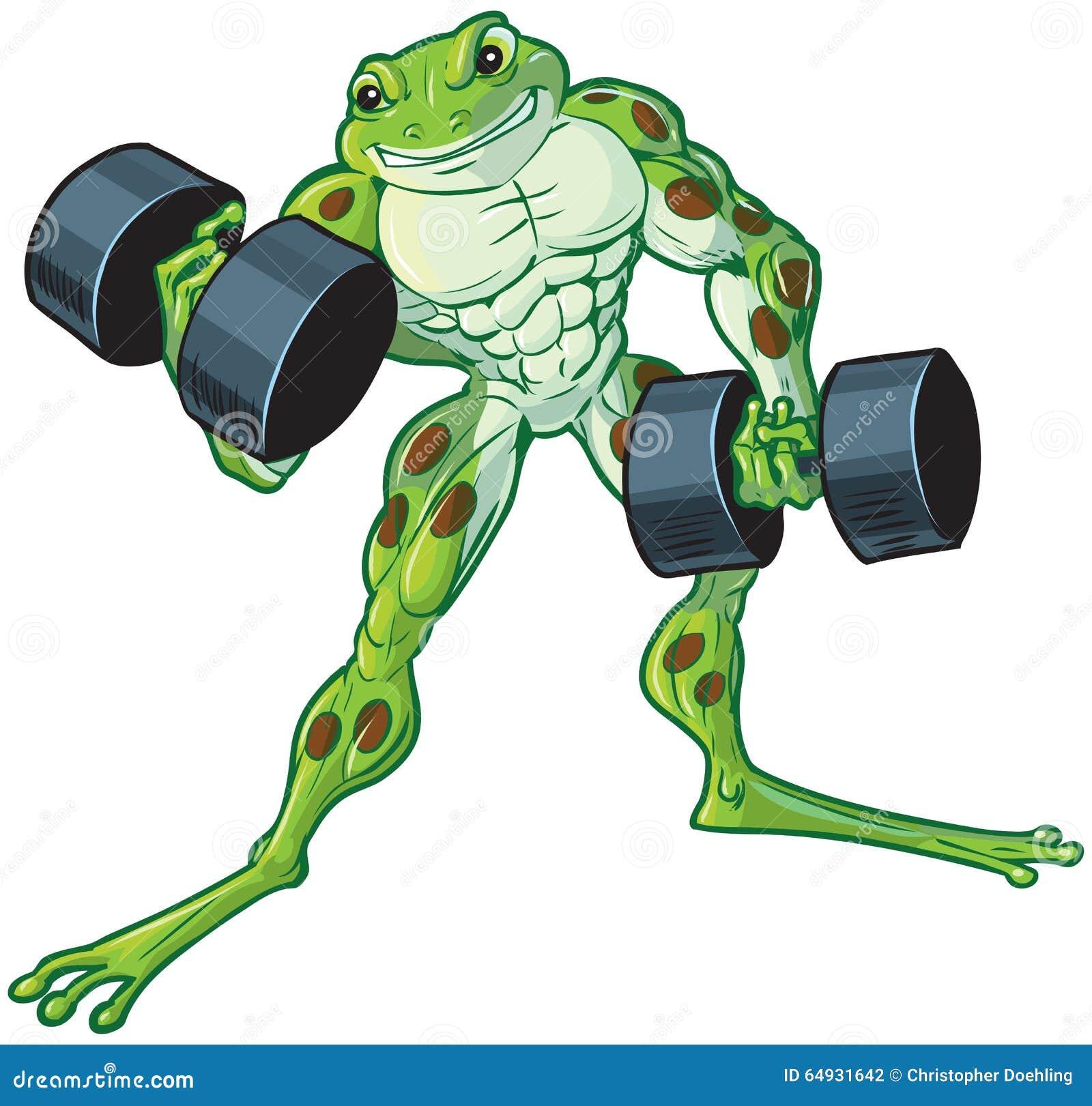 Muscular Cartoon Frog Curling Dumbbells