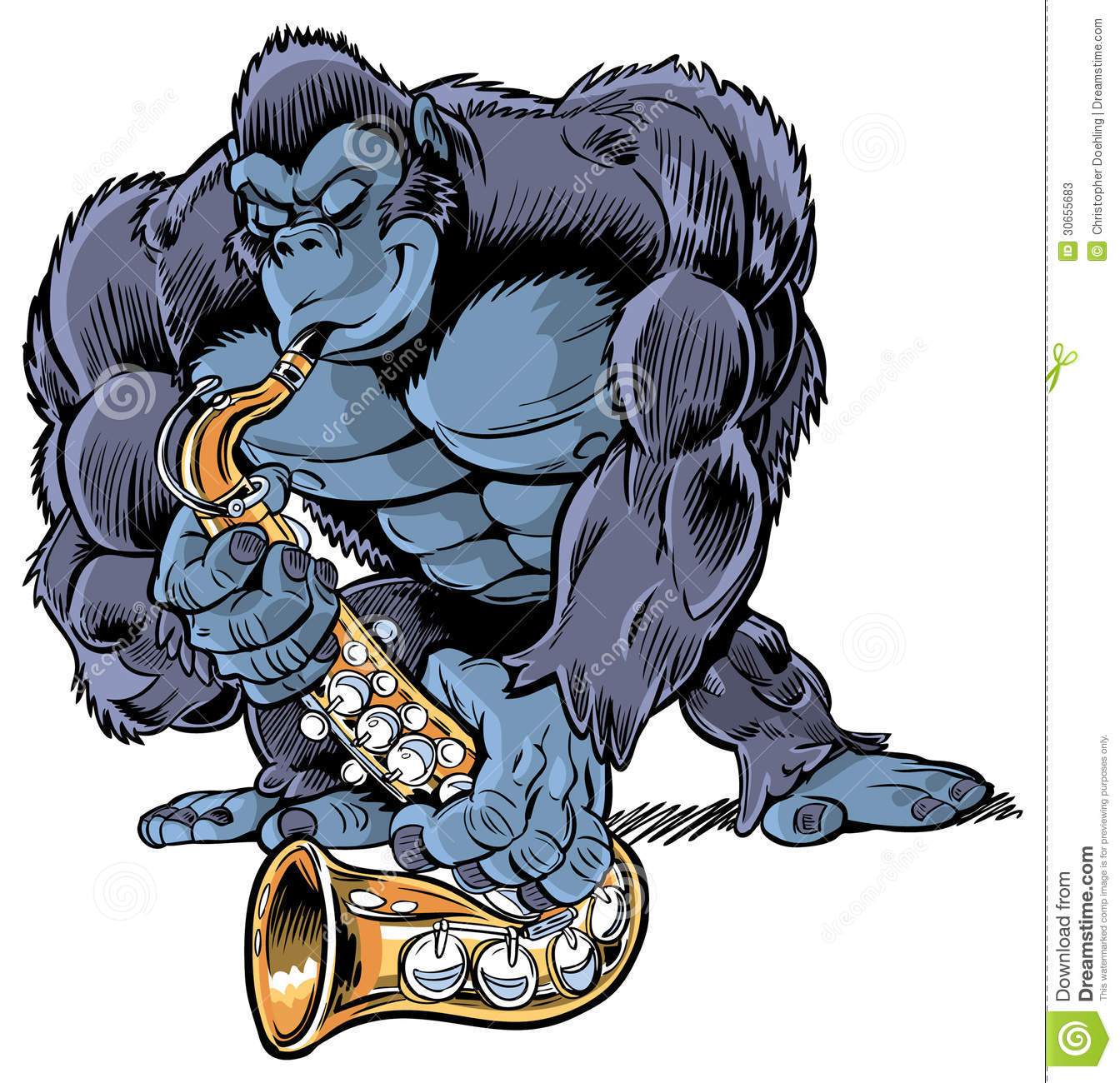 Muscular Cartoon Gorilla Playing Saxophone Stock Vector ...