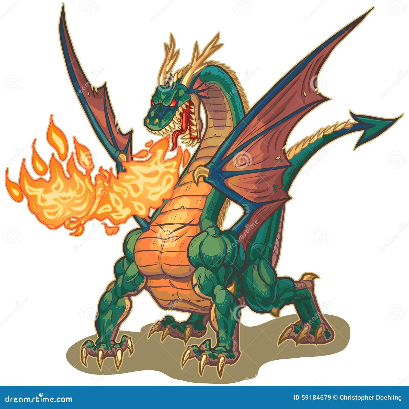 Vector cartoon clip art illustration of a muscular dragon mascot ...