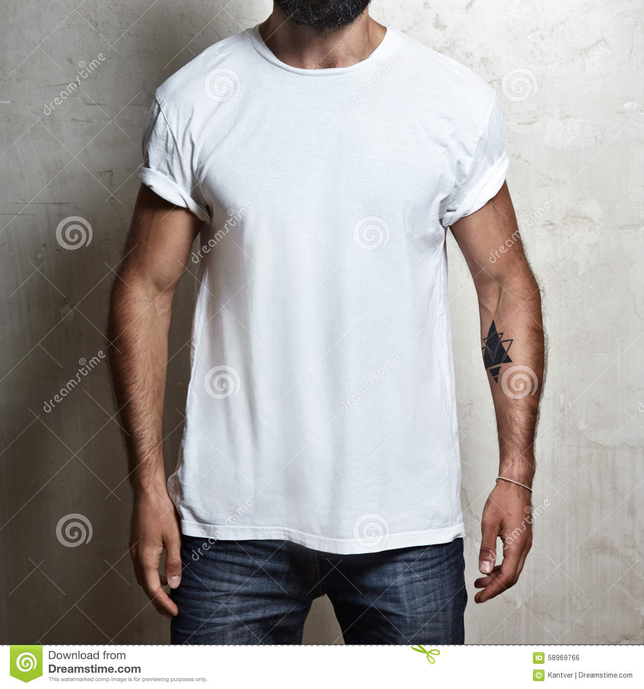 Muscular Guy Wearing White T-shirt Stock Photo - Image: 58969766