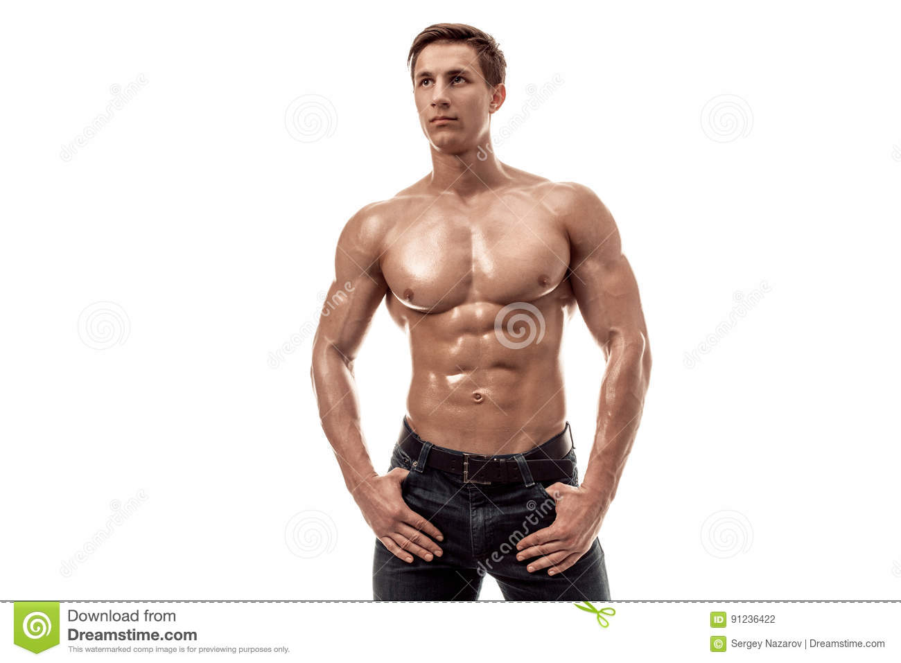 Handsome young man in blue jeans with naked torso — Stock
