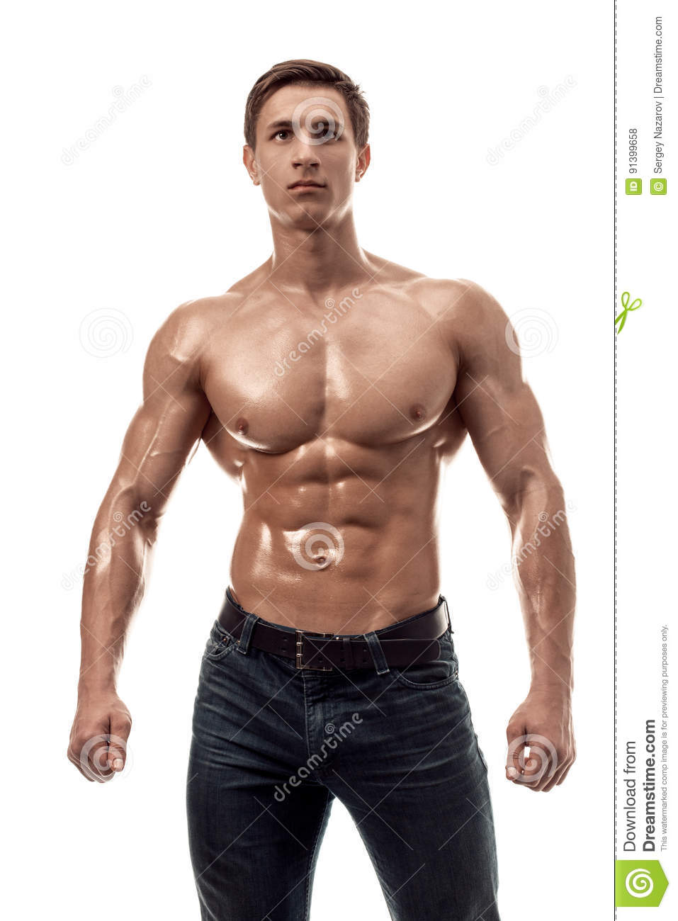 Muscular Handsome Young Man With Naked Torso Isolated On
