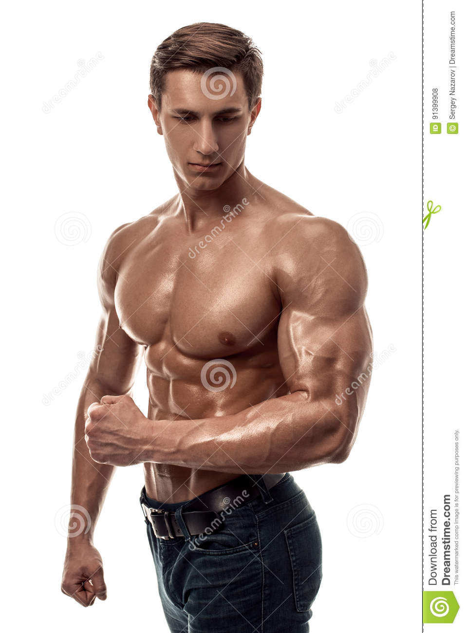 Handsome Topless Muscular Man Standing, Isolated Stock