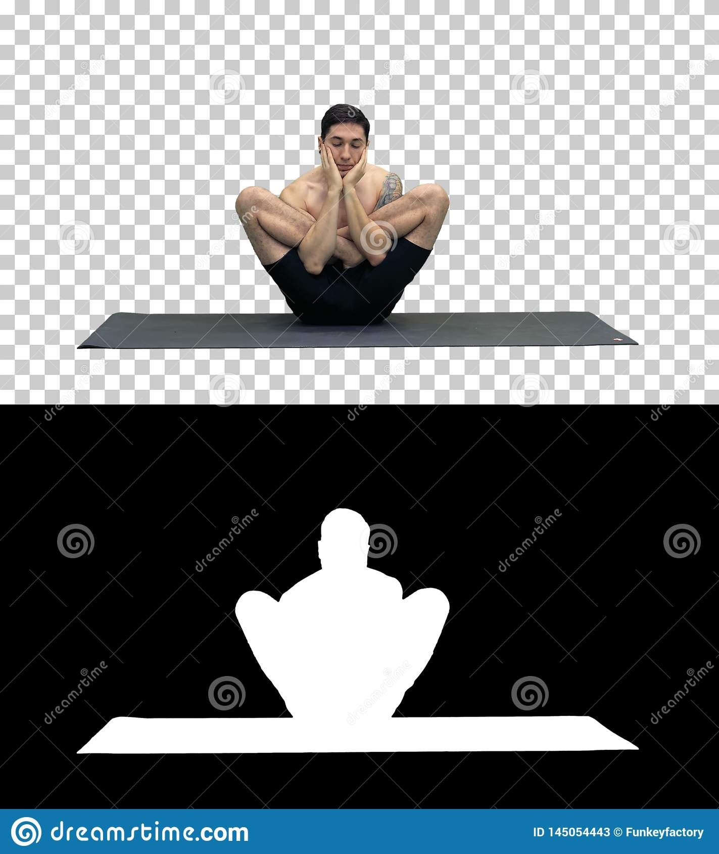 Muscular handsome young man working out, yoga, lotus, hands on the face, Alpha Channel