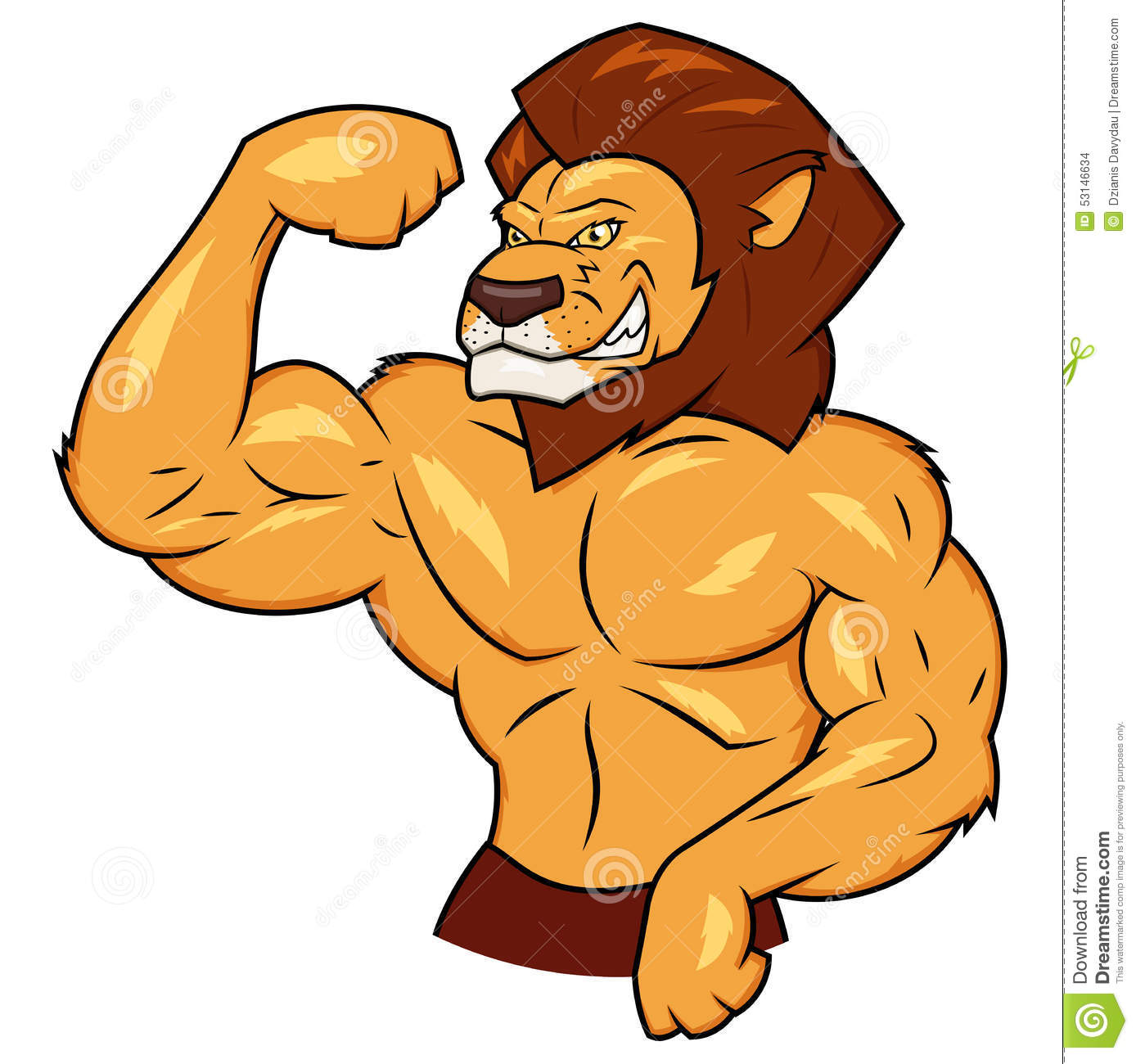 "Cheese à l""Oliv  Muscular-lion-posing-illustration-53146634"