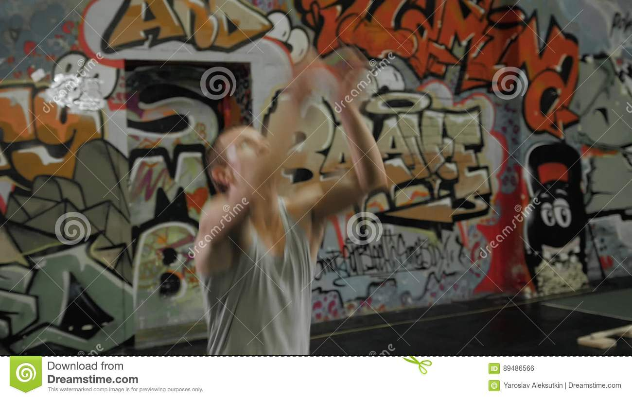 Muscular Man Athlete Portrait Standing In Front Of Graffiti Wall Crossfit Center Stock Footage