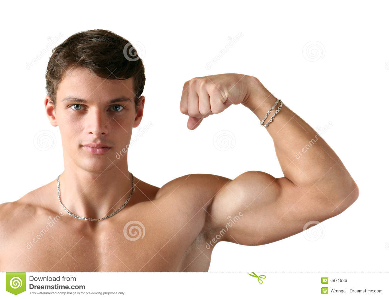 Young muscular man flexing his biceps isolated on white.