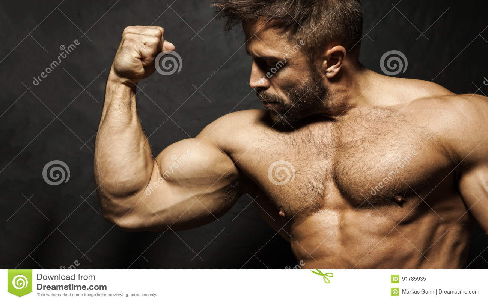 A muscular man flexing his biceps