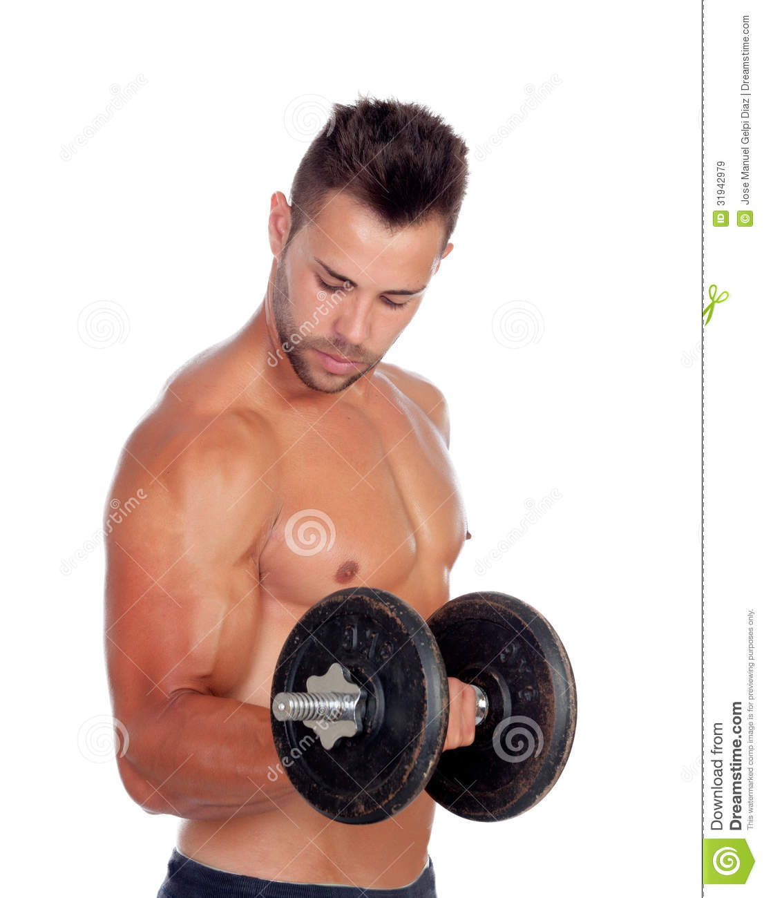 muscular man lifting weights royalty free stock images