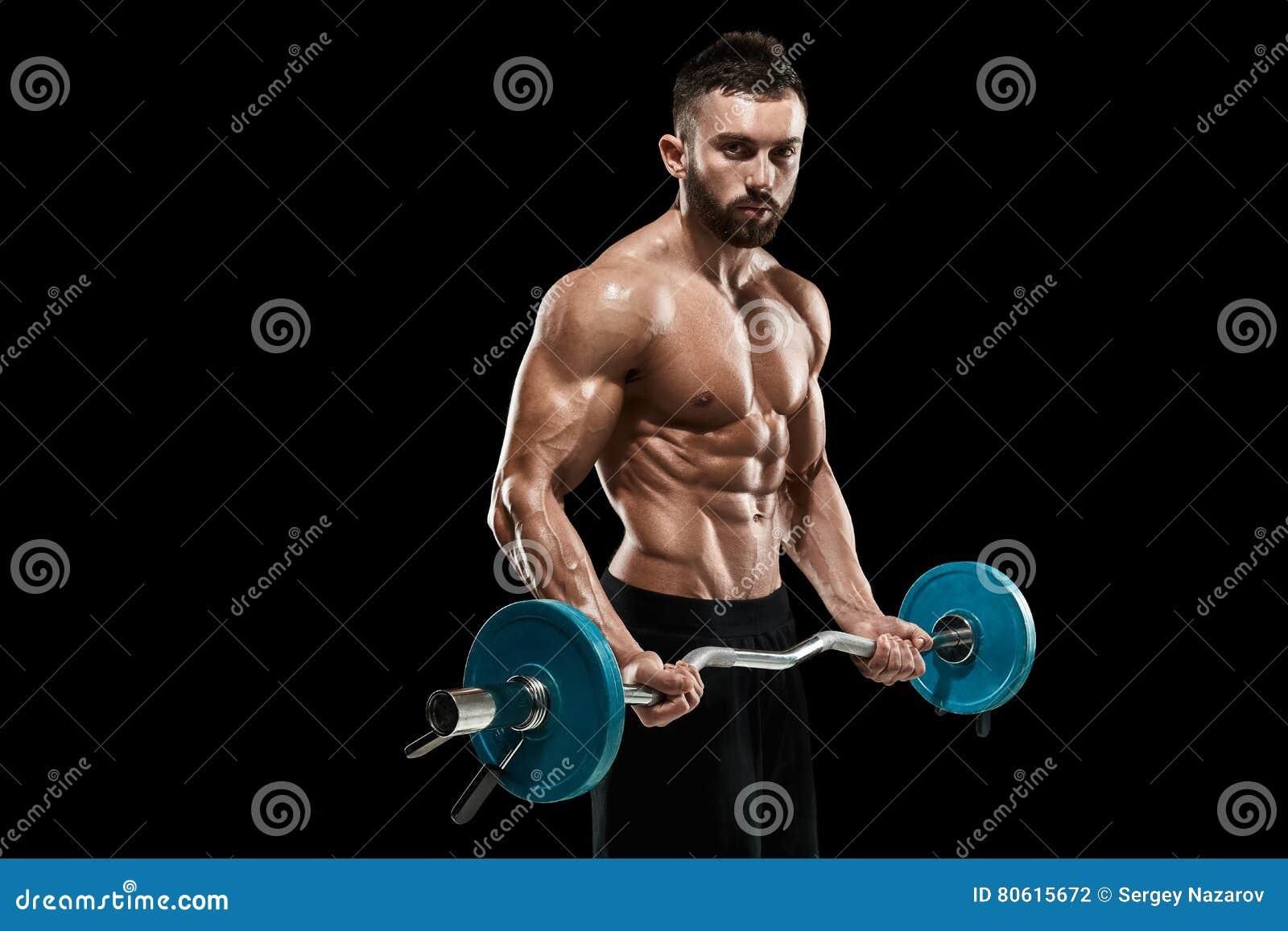 Bodybuilder Lifting Dumbbell Stock Photo - Image of