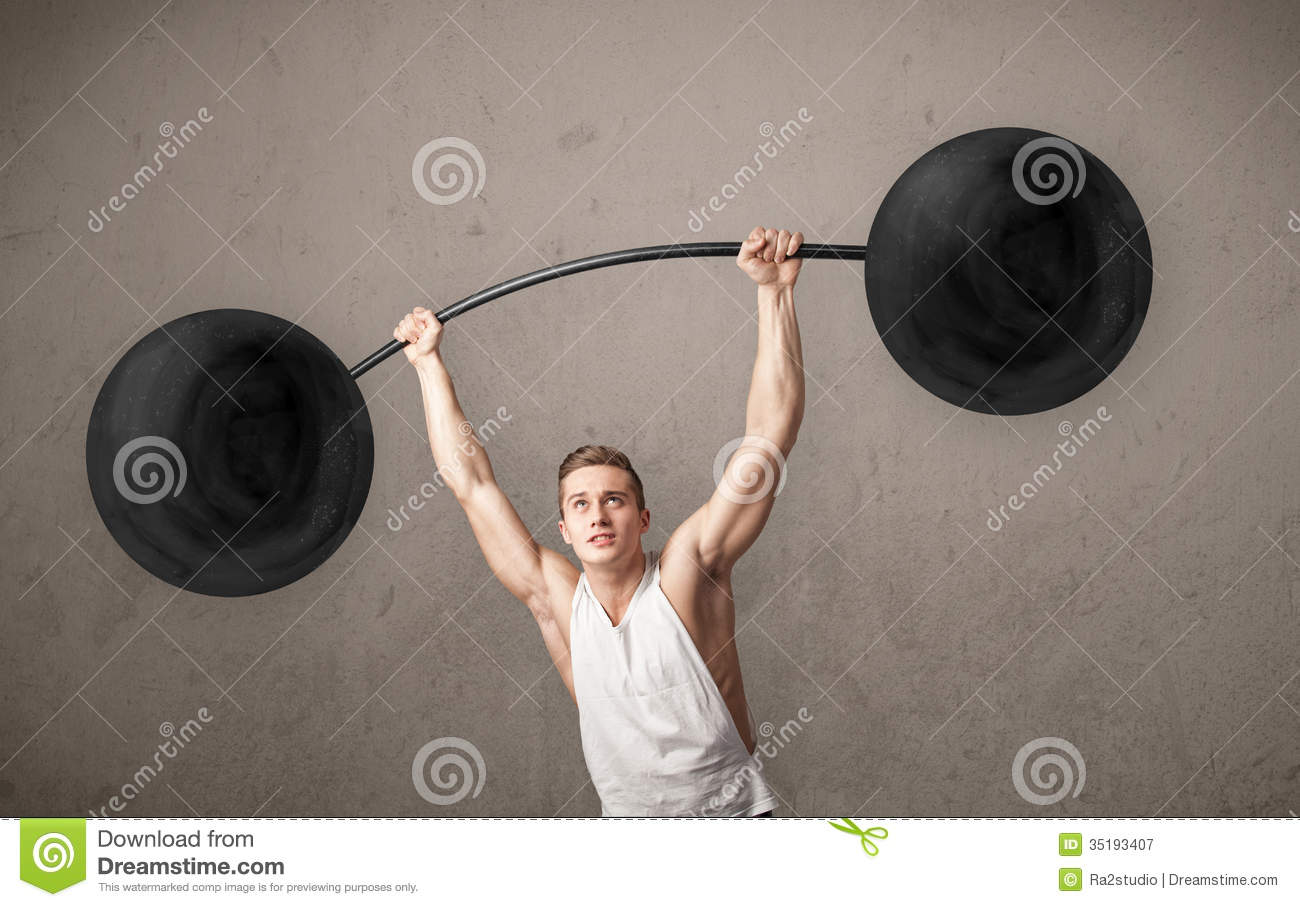 Muscular Man Lifting Weights Royalty Free Stock ...