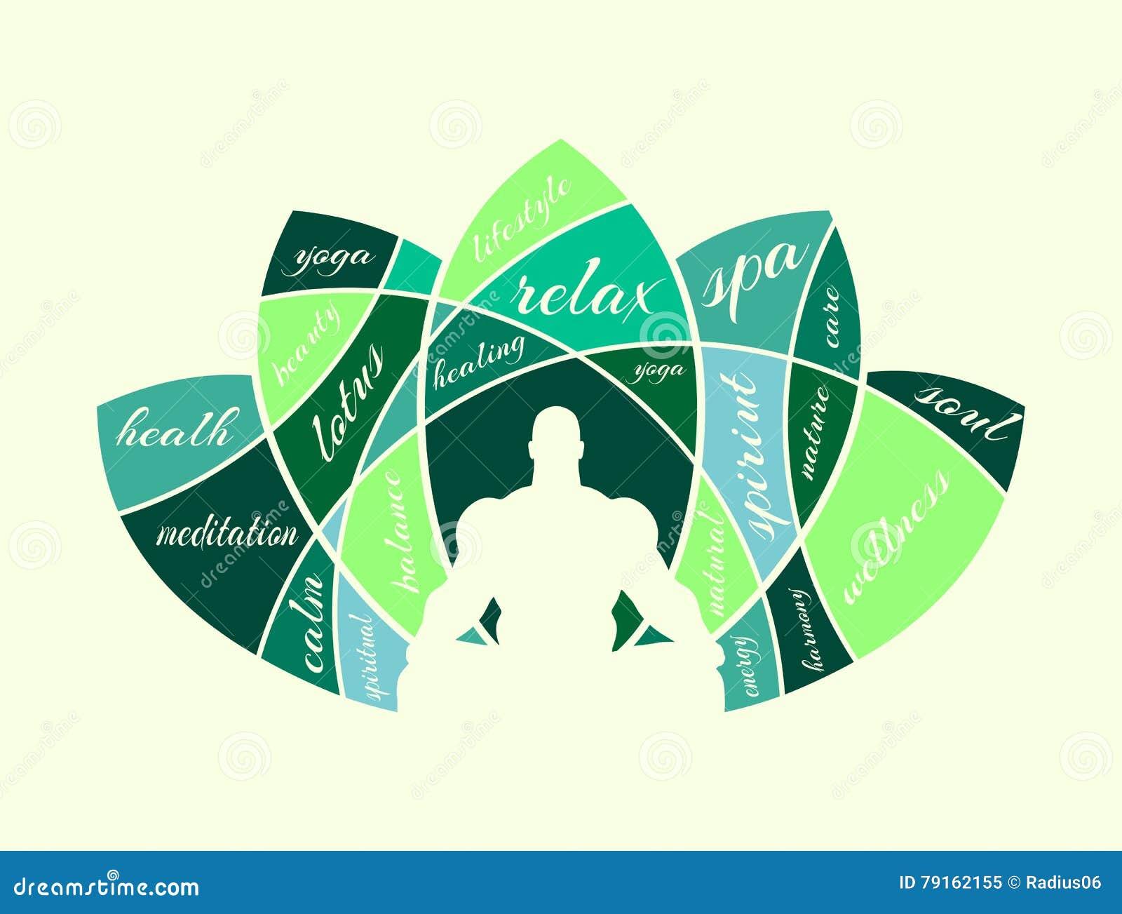 Muscular man meditation. stock vector. Illustration of curved