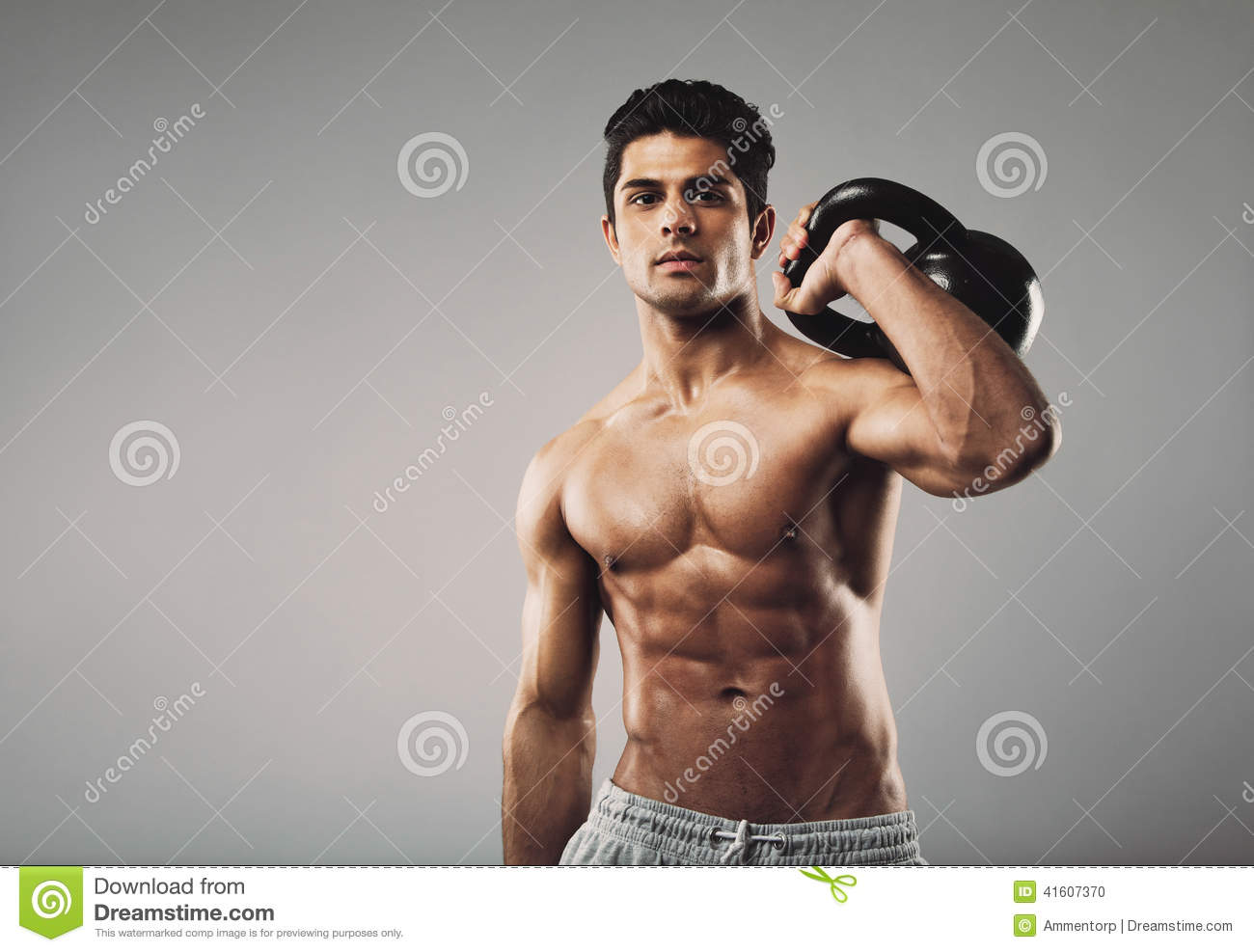 Muscular Man Performing Crossfit Workout With Kettlebell Stock Photo ...