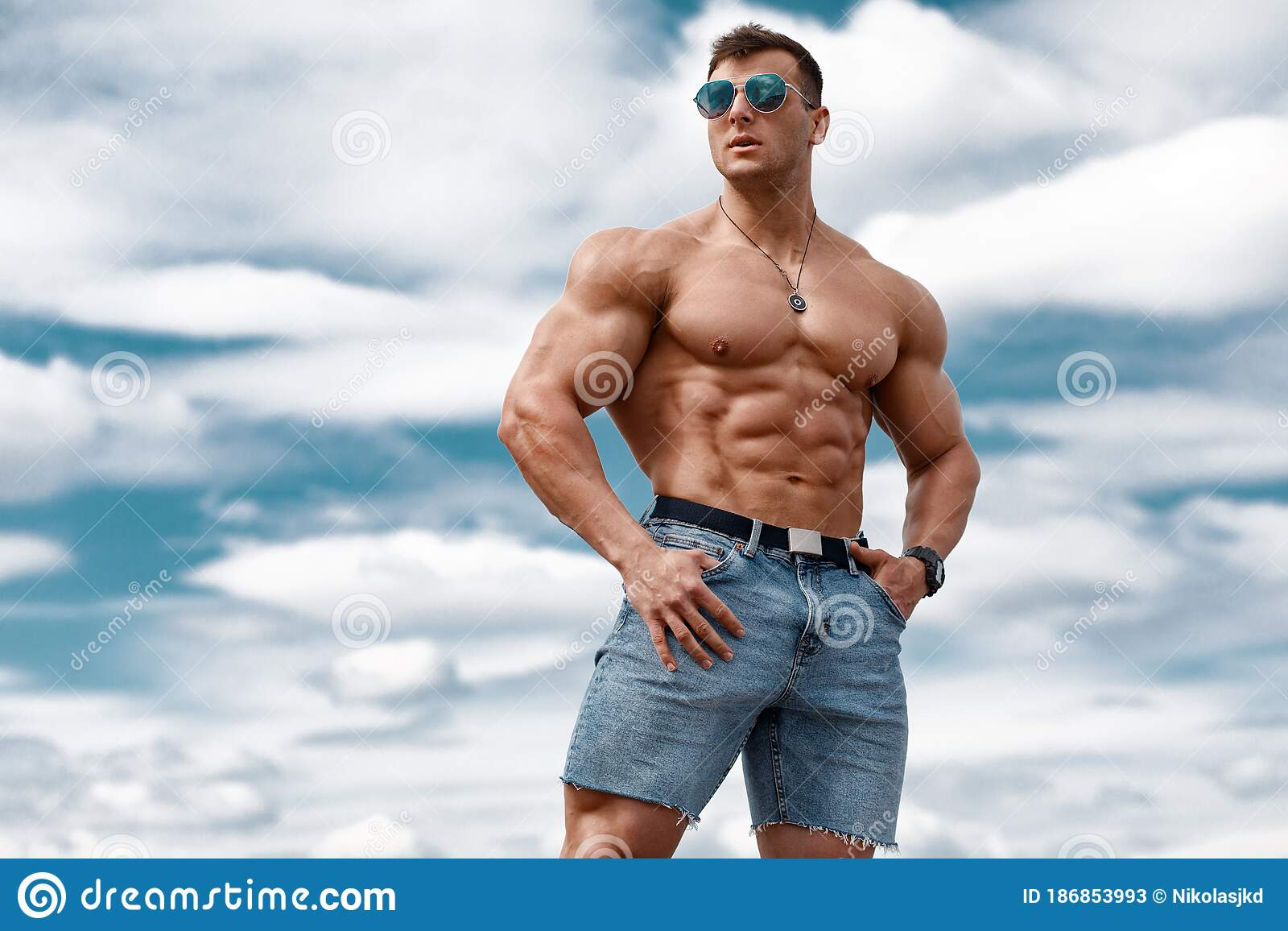 Portrait Muscular Strong Athletic Man Naked Torso Pumping