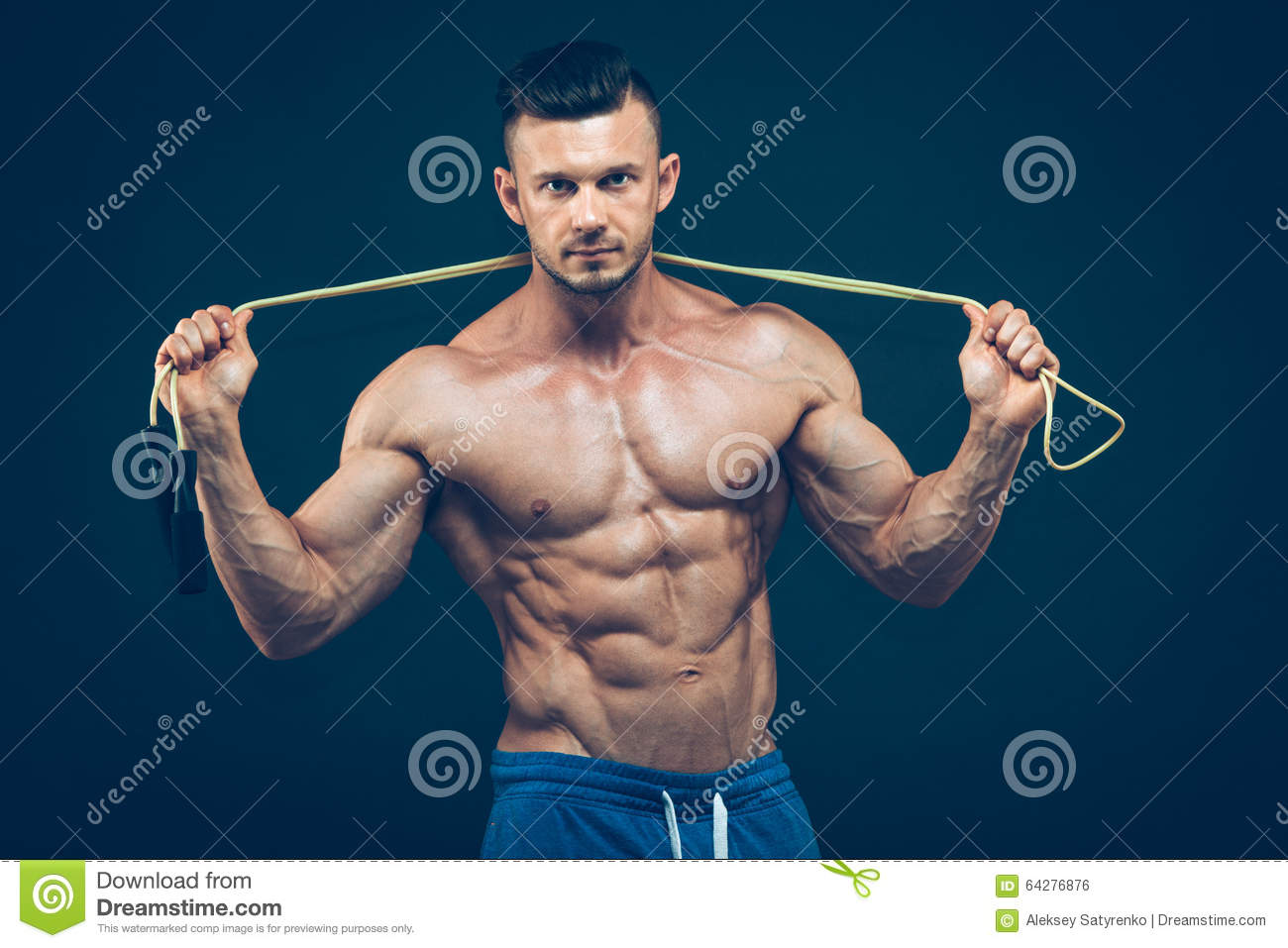 Muscular Man Skipping Rope. Portrait Of Muscular Stock ...