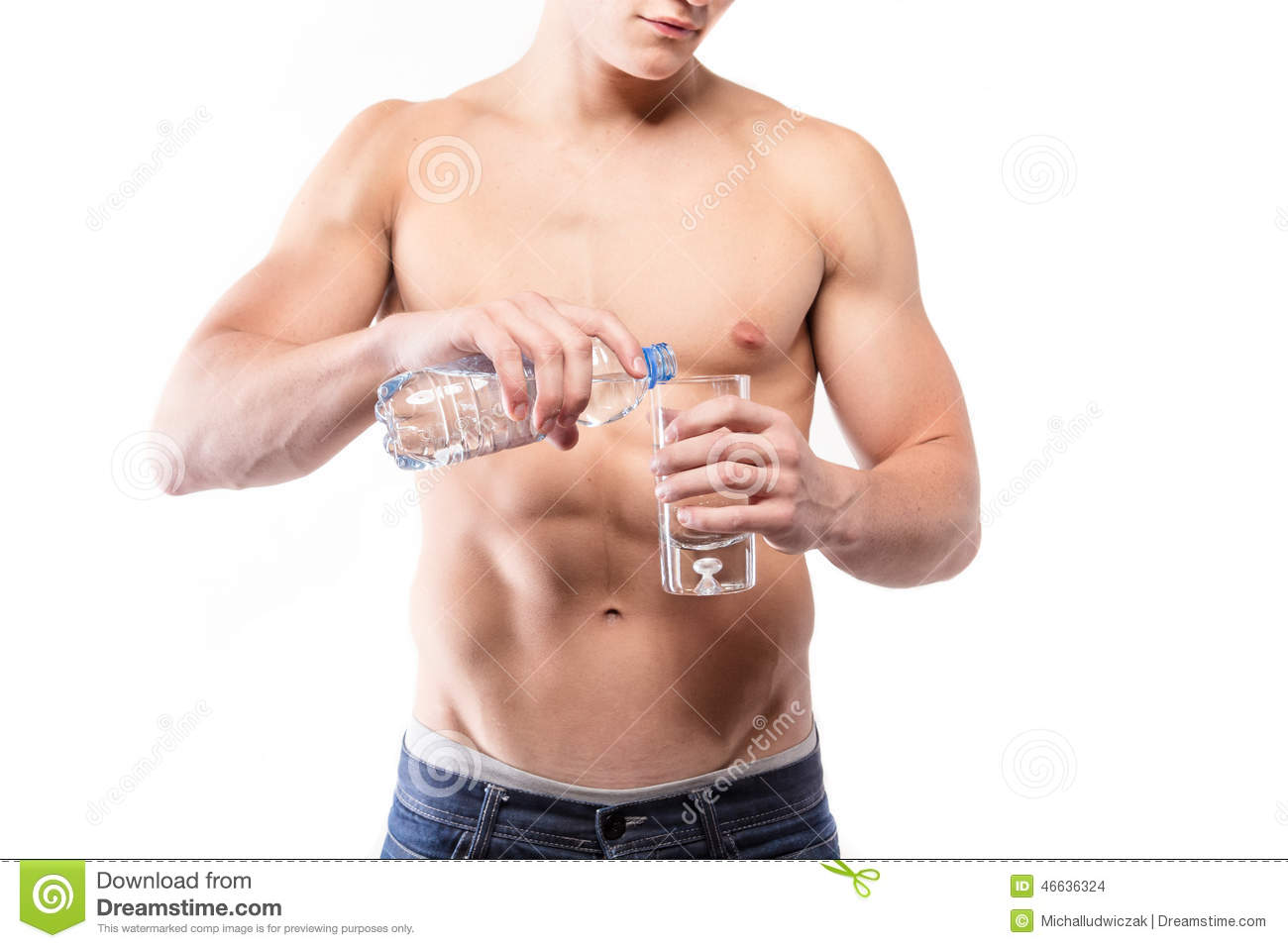 Muscular Man Torso With Bottle And Water Stock Photo - Image of ...