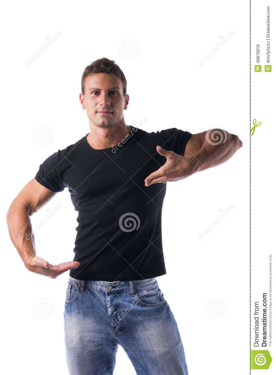 Black t shirt and jeans - Muscular