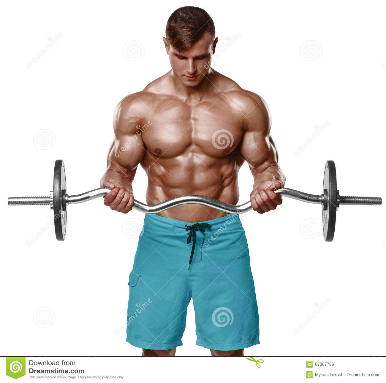 Bodybuilder Man Doing Biceps Muscle Exercises Royalty-Free ...