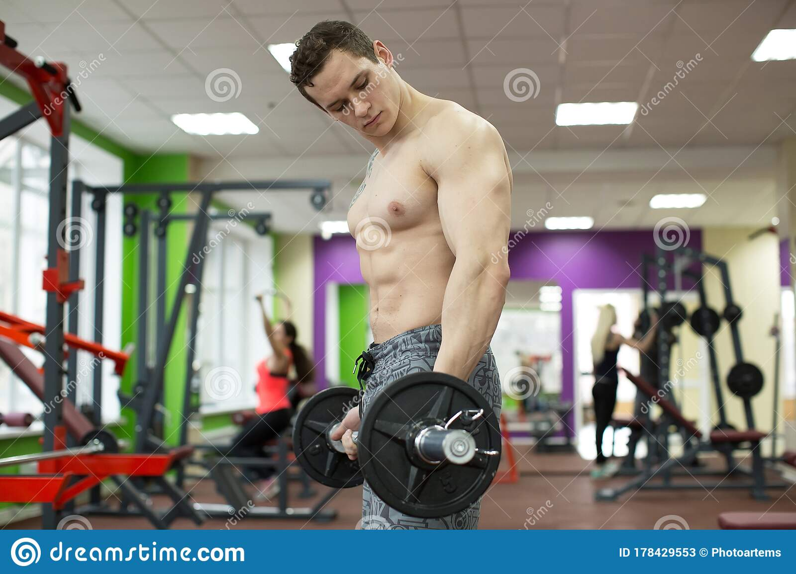 Muscular Man In Gym Abs Working Out Strong Male Naked