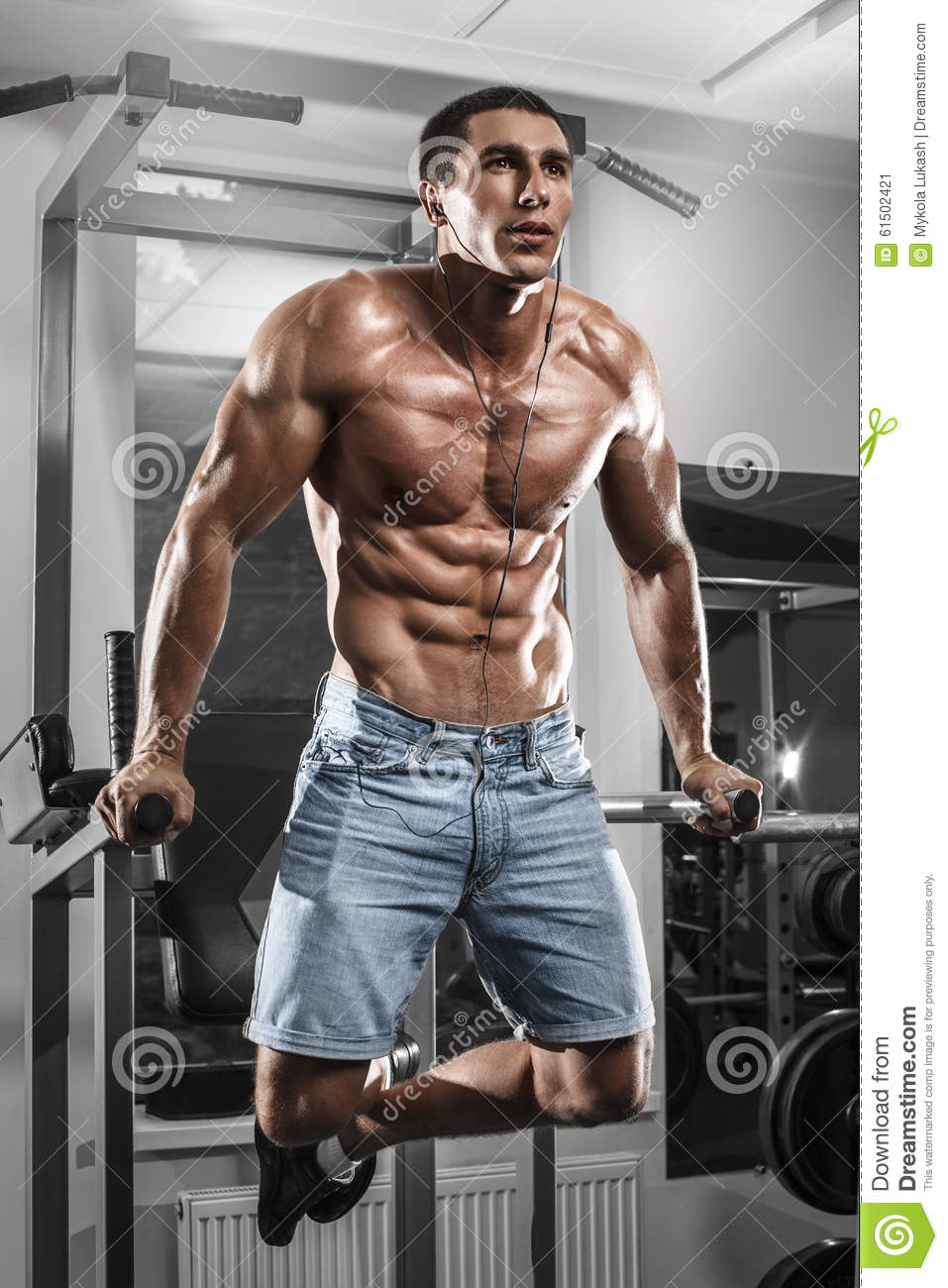 Sexy Muscular Man Posing In Gym Male Naked Torso Abs Stock
