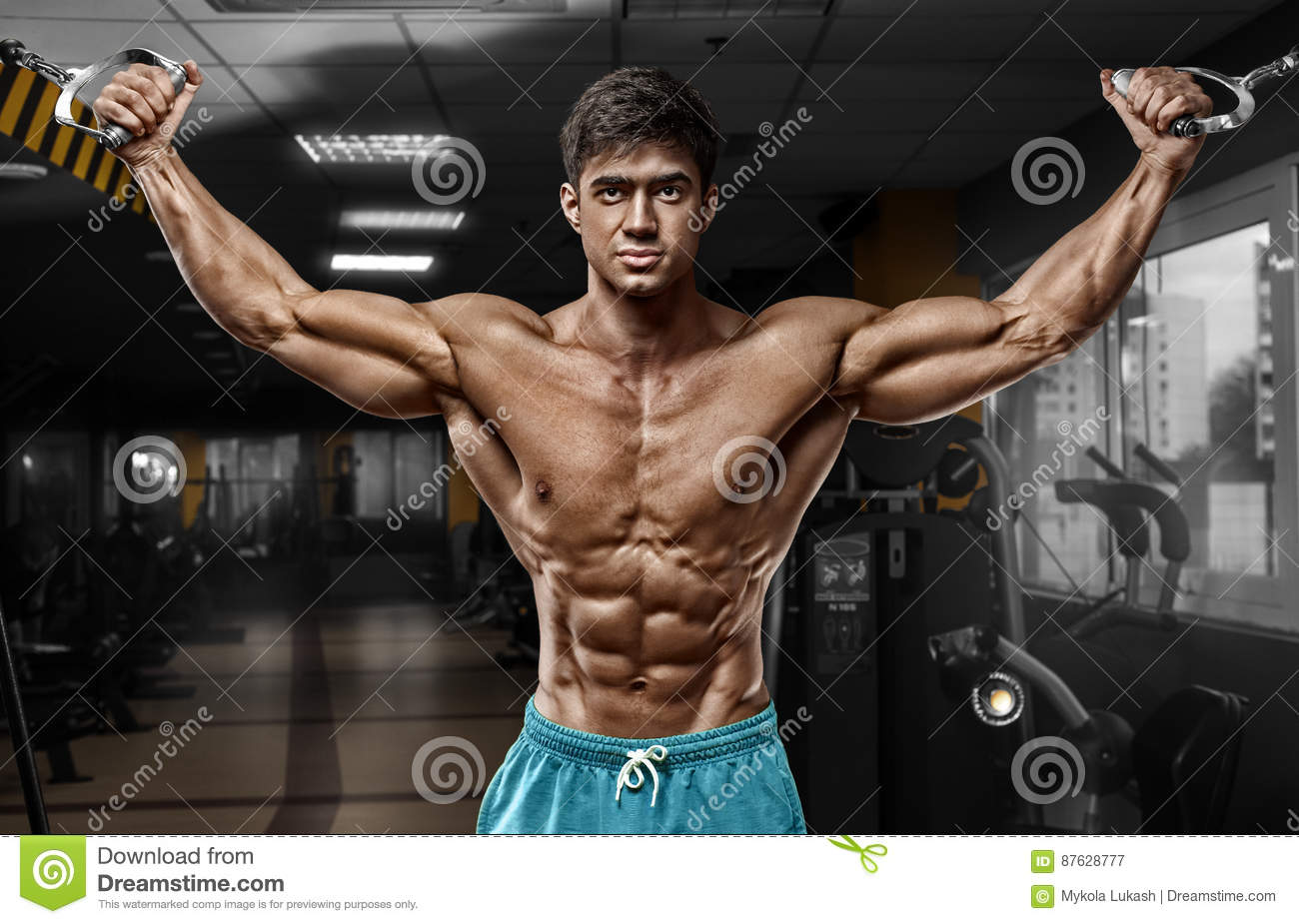 Download Muscular Man Working Out In Gym Doing Exercises, Strong Male Naked Torso Abs Stock Image - Image of blue, strong: 87628777