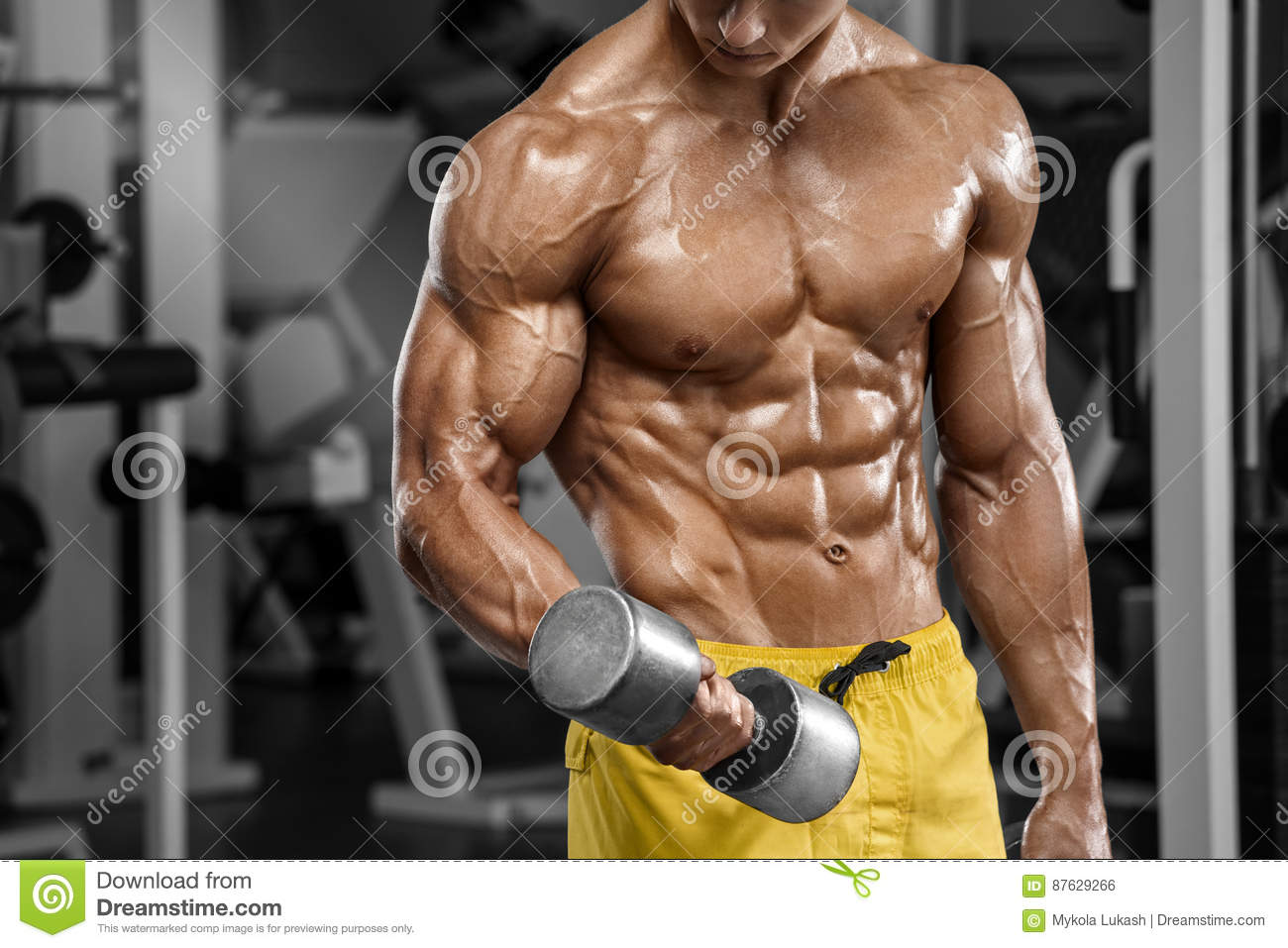 Muscular Man Working Out In Gym, Strong Arab Male, Naked