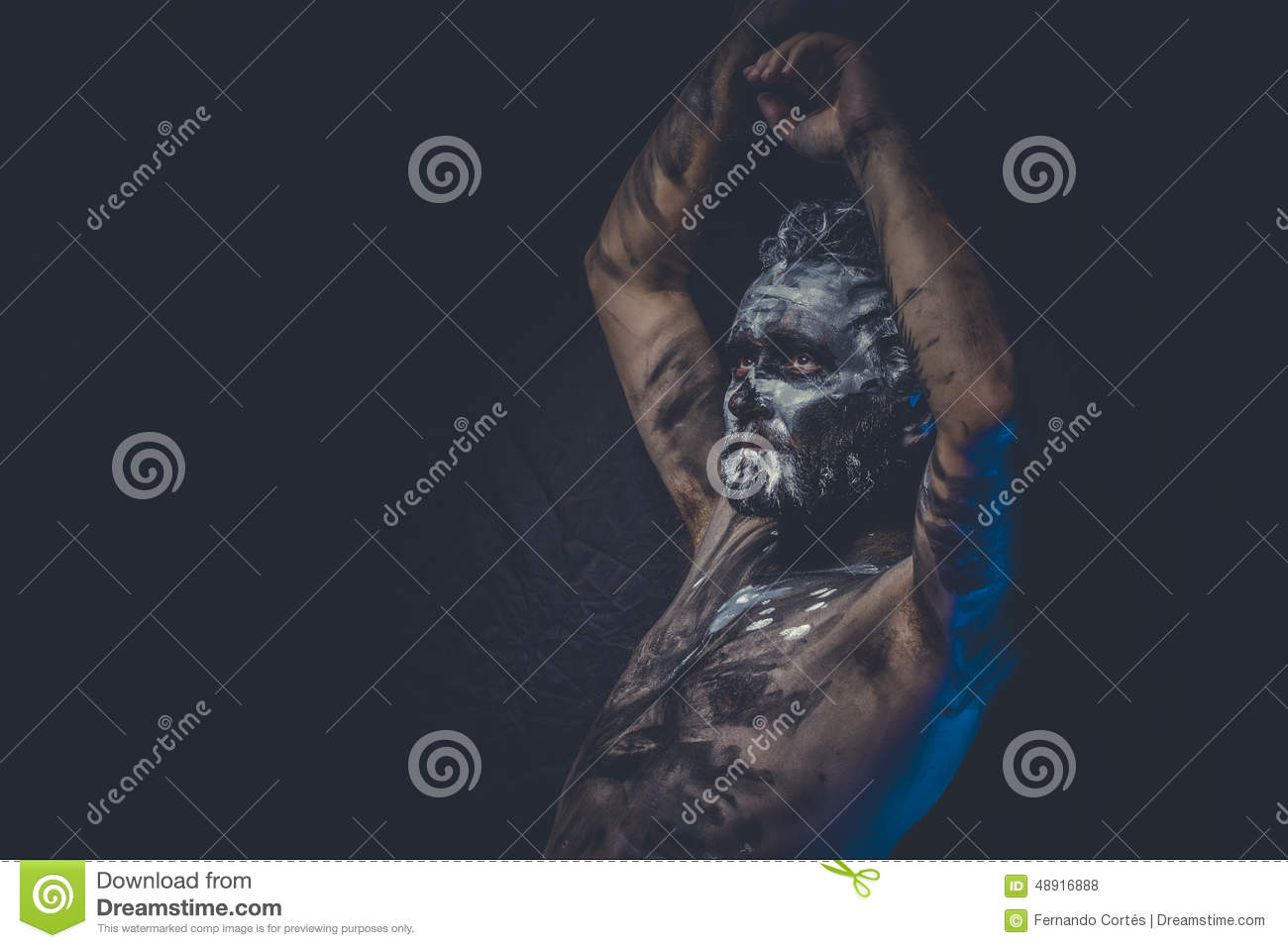 Aggression, Naked Man Covered With Paint And Mud Skin