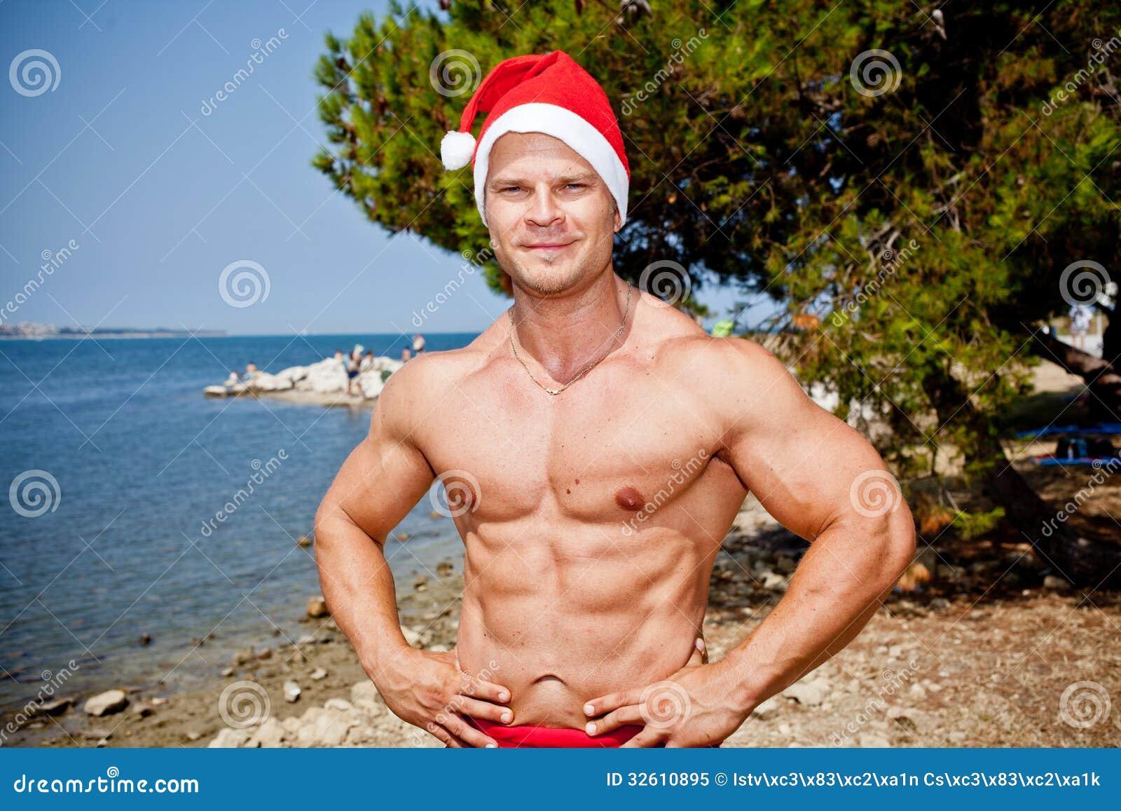 Muscular Santa Claus Show Royalty Free Stock Photo Image 32610895