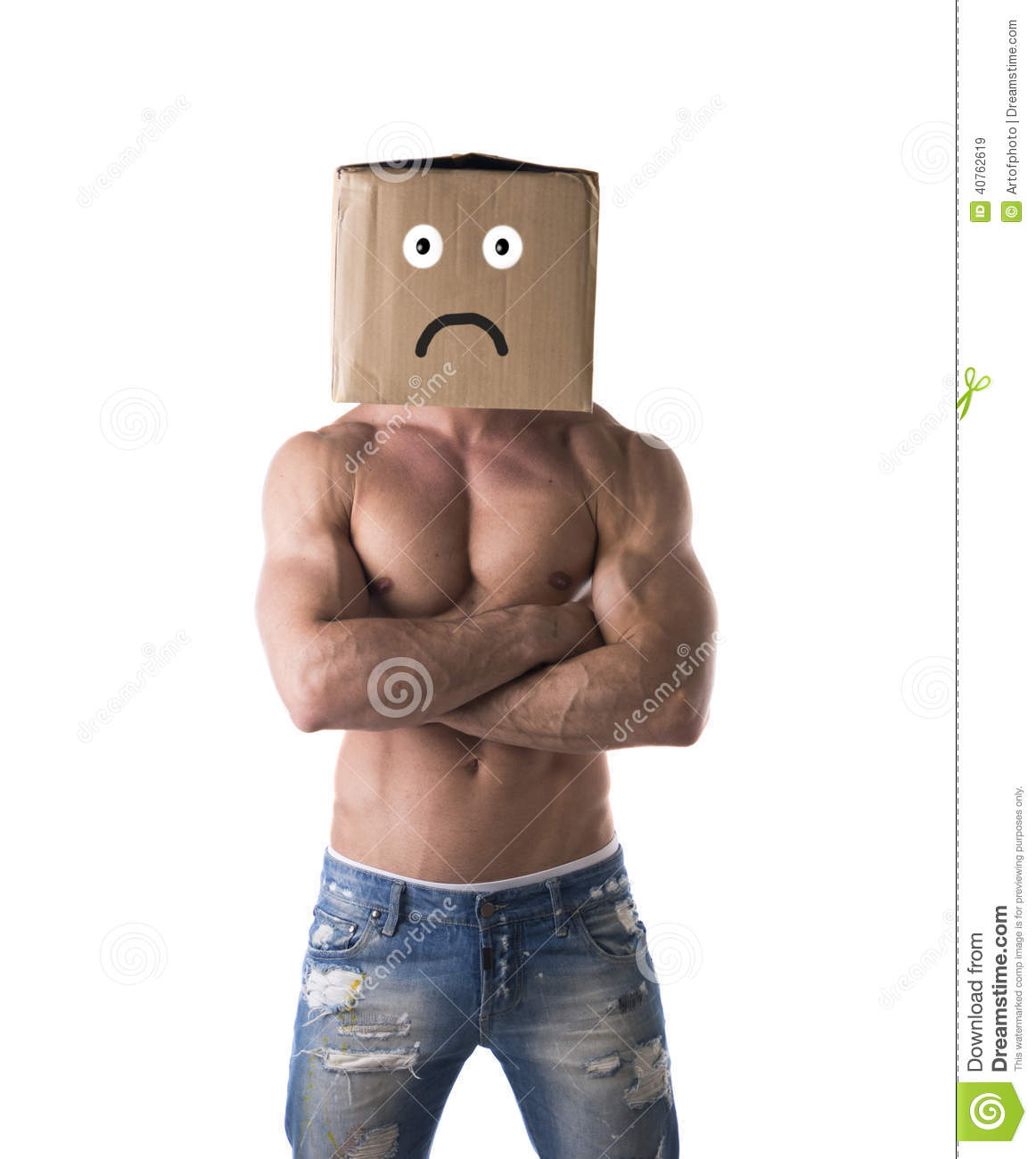 ... , unhappy cardboard box on his head, isolated on white, arms crossed