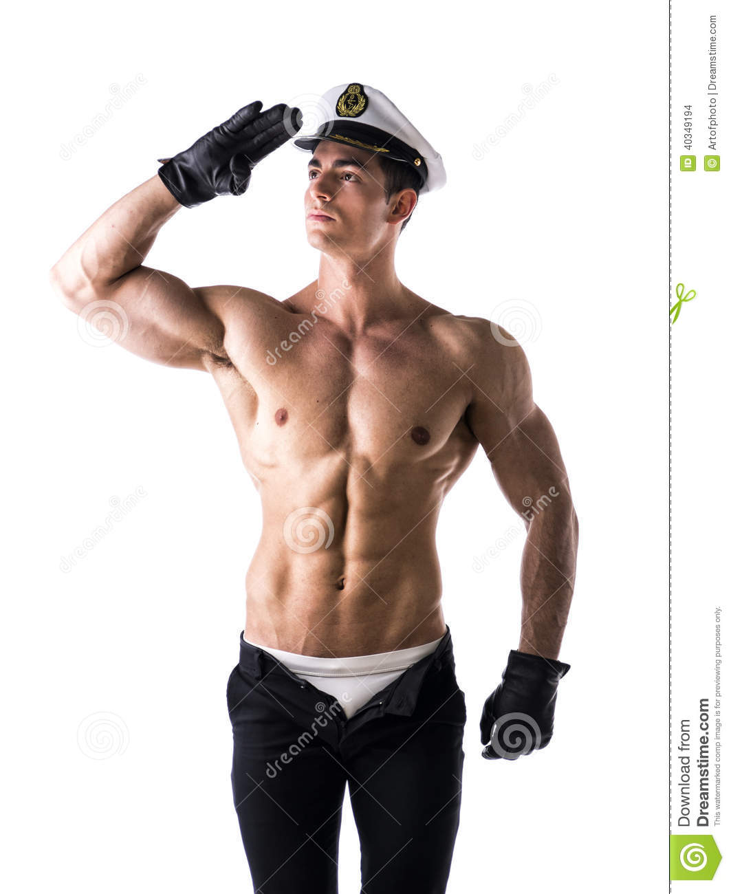 Muscular Shirtless Male Sailor With Nautical Hat Stock -6957