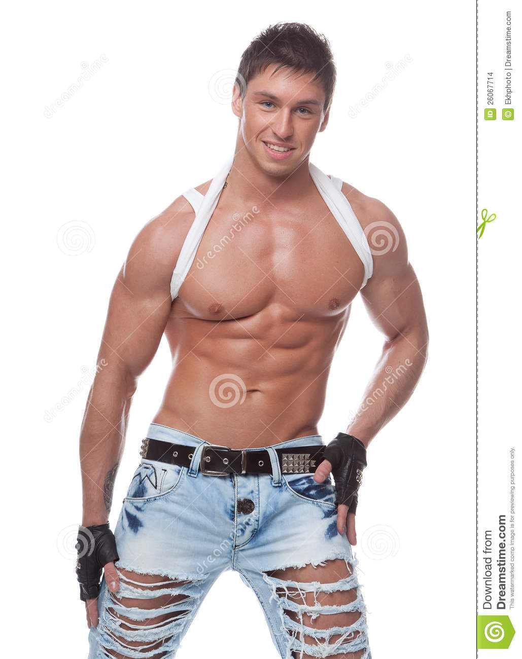 1b27aa9d Muscular Smiling Naked Guy In Blue Jeans Stock Photo - Image of ...