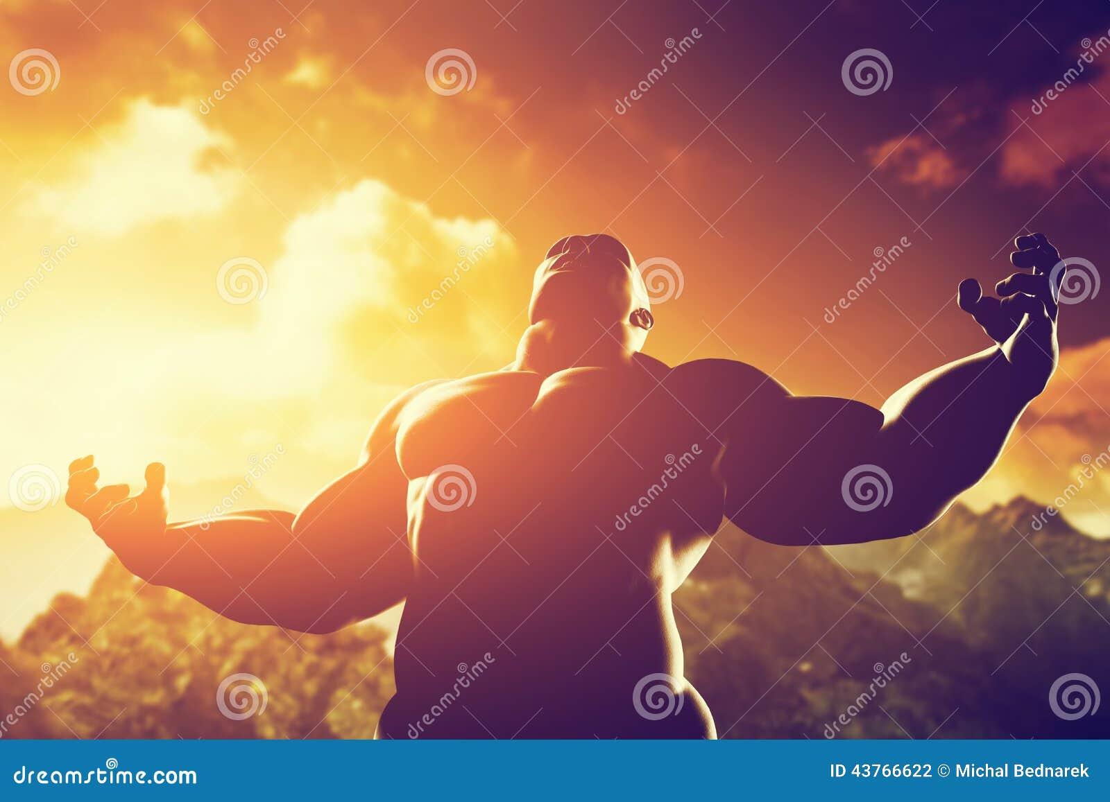 Muskuløs stærk mand med helt, atletisk kropsform, der udtrykker sin kraft og styrke-4599
