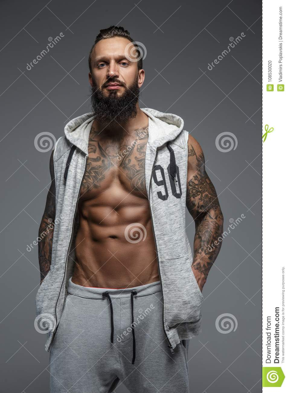 Men with beards tattoos and muscles congratulate, simply