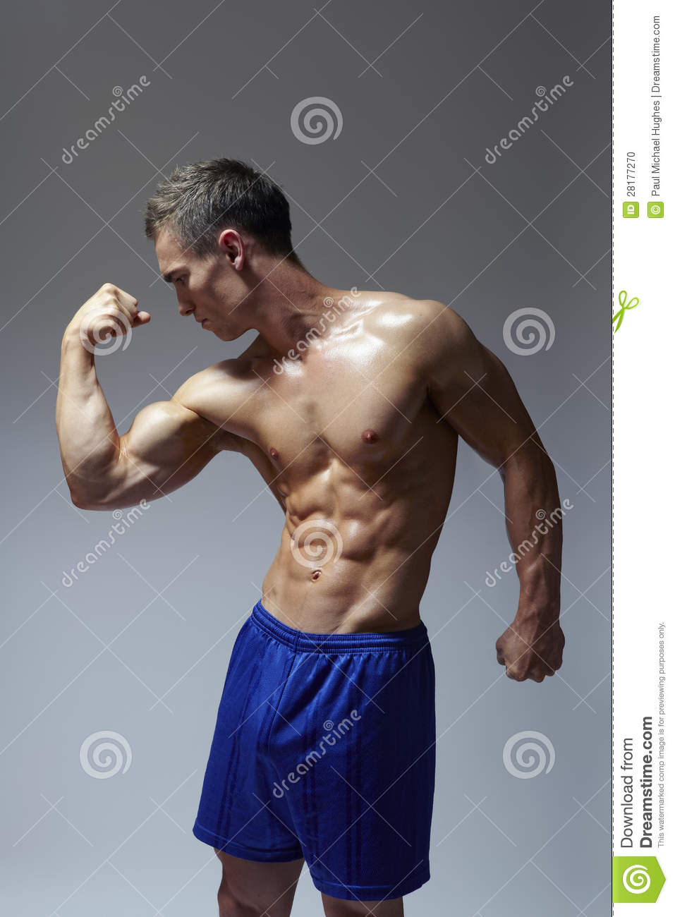 Muscular Young Man Flexing Arm Muscles Stock Photo - Image: 28177270