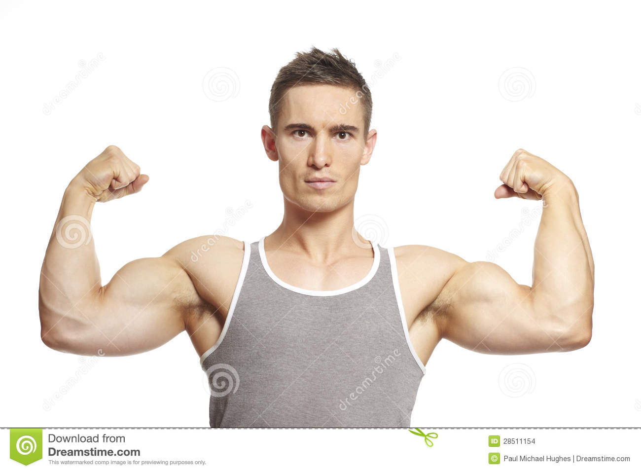 Muscular young man flexing arm muscles in sports outfit smiling on ...