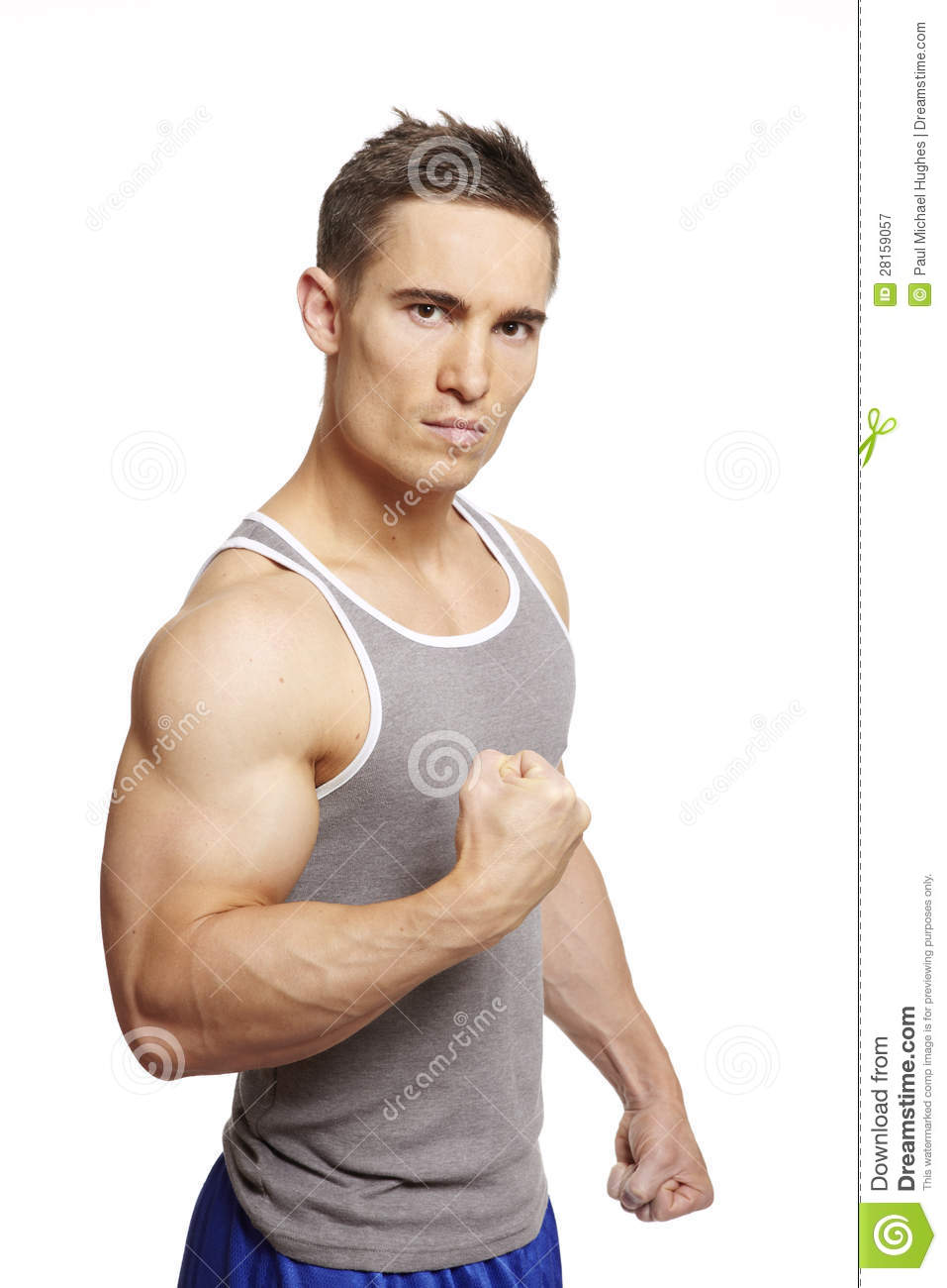 Muscular Young Man Flexing Biceps Isolatedhandsome Muscular Young Man ...