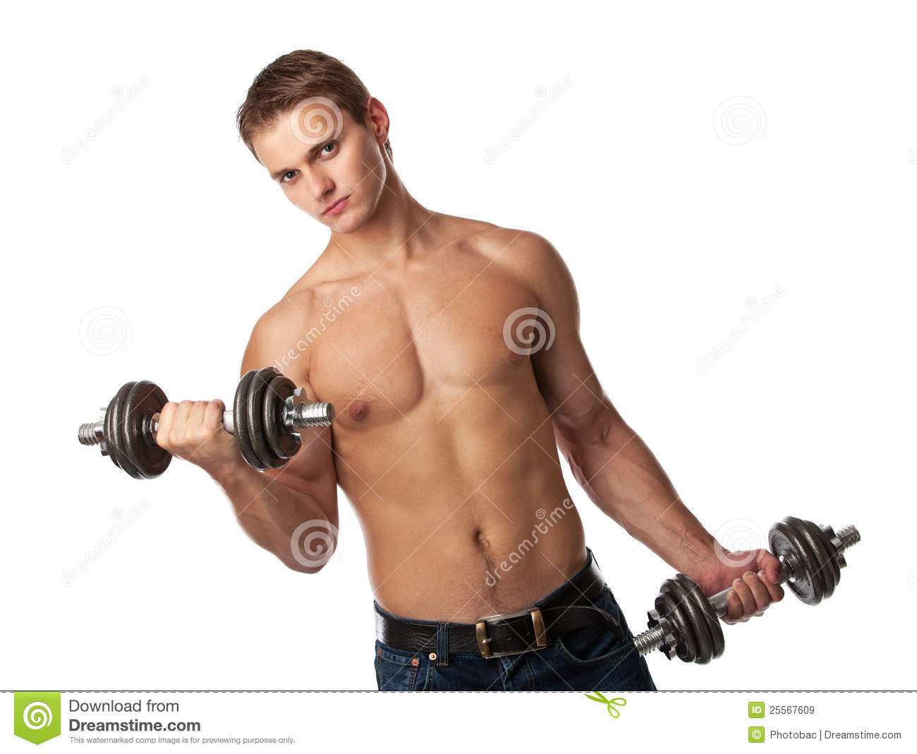 Muscular Young Man Lifting Weights Royalty Free Stock ...