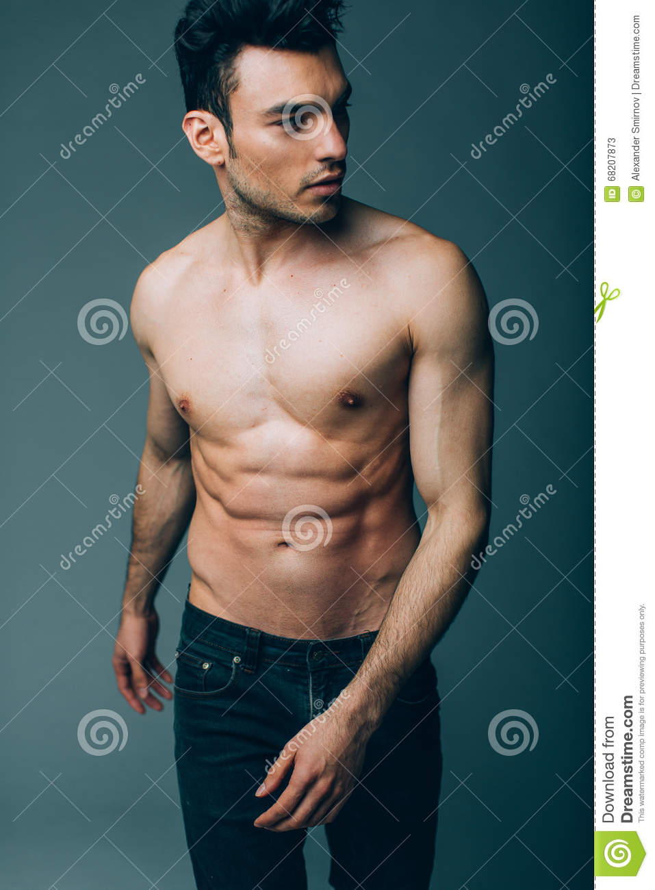 Attractive Young Man Naked Muscular Torso Stock Photo