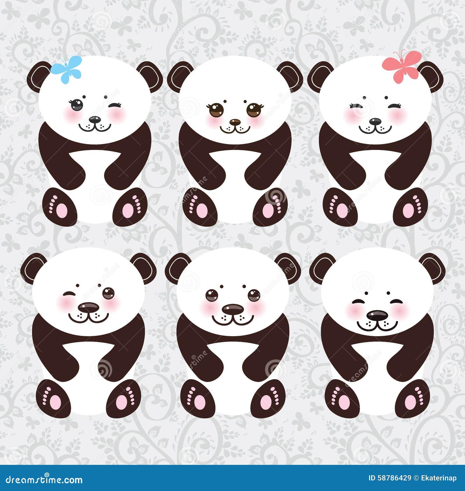Museau Blanc De Panda Drôle De Kawaii Avec Les Joues Roses