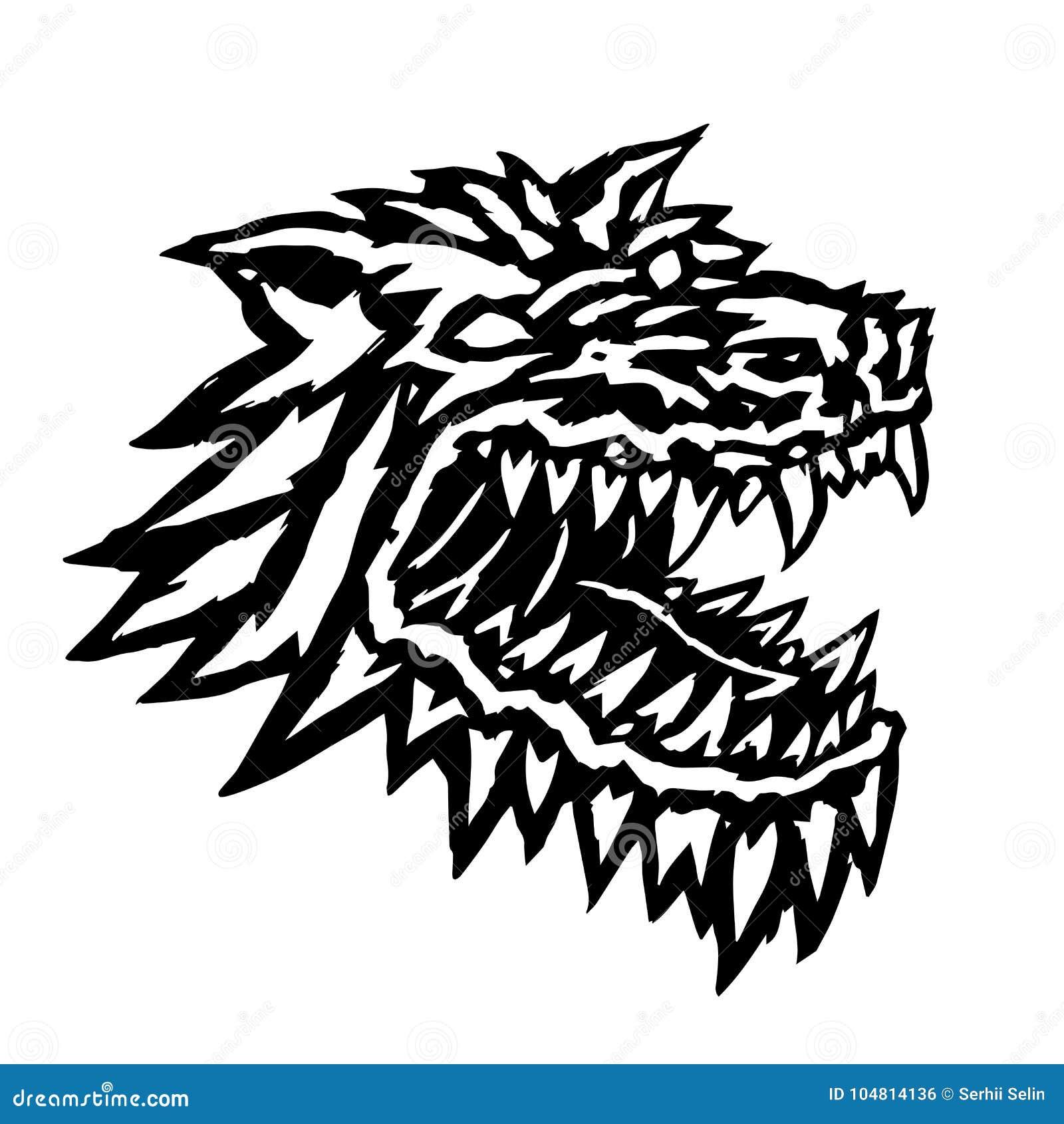 Museau d un monstre terrible de loup-garou Illustration de vecteur