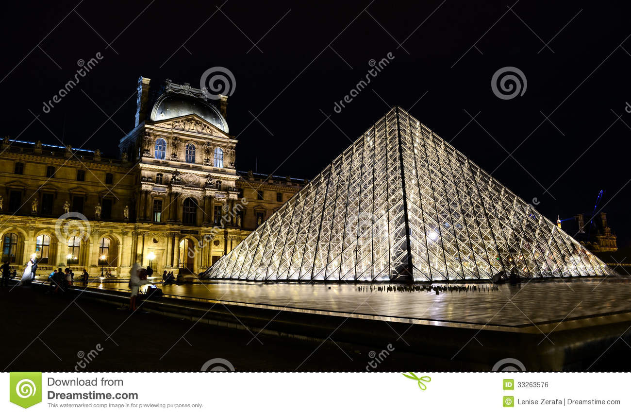 Musee Du Louvre In The Evening Paris France Editorial Photo