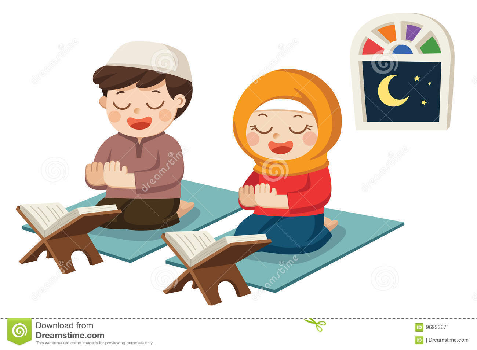 Muselmanen lurar att be och att läsa Quran den heliga boken av islam