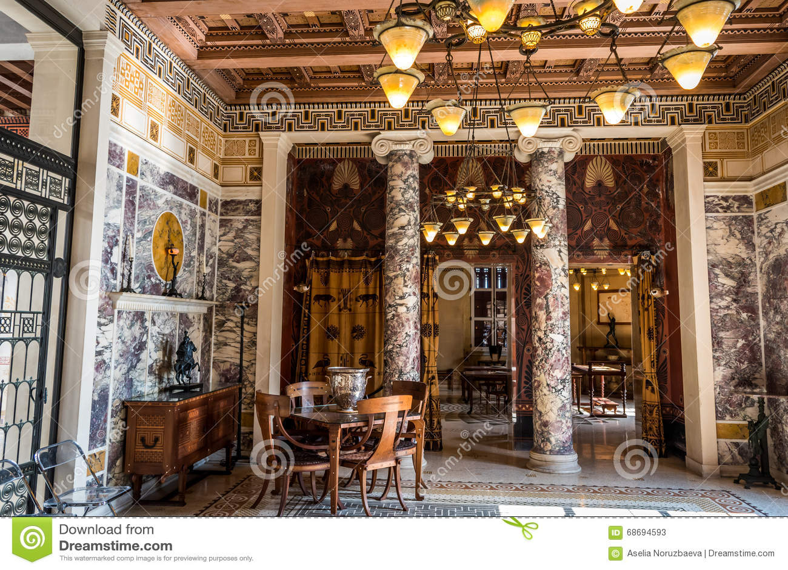museo grecia villa kerylos interno immagine stock immagine di modello colon 68694593. Black Bedroom Furniture Sets. Home Design Ideas