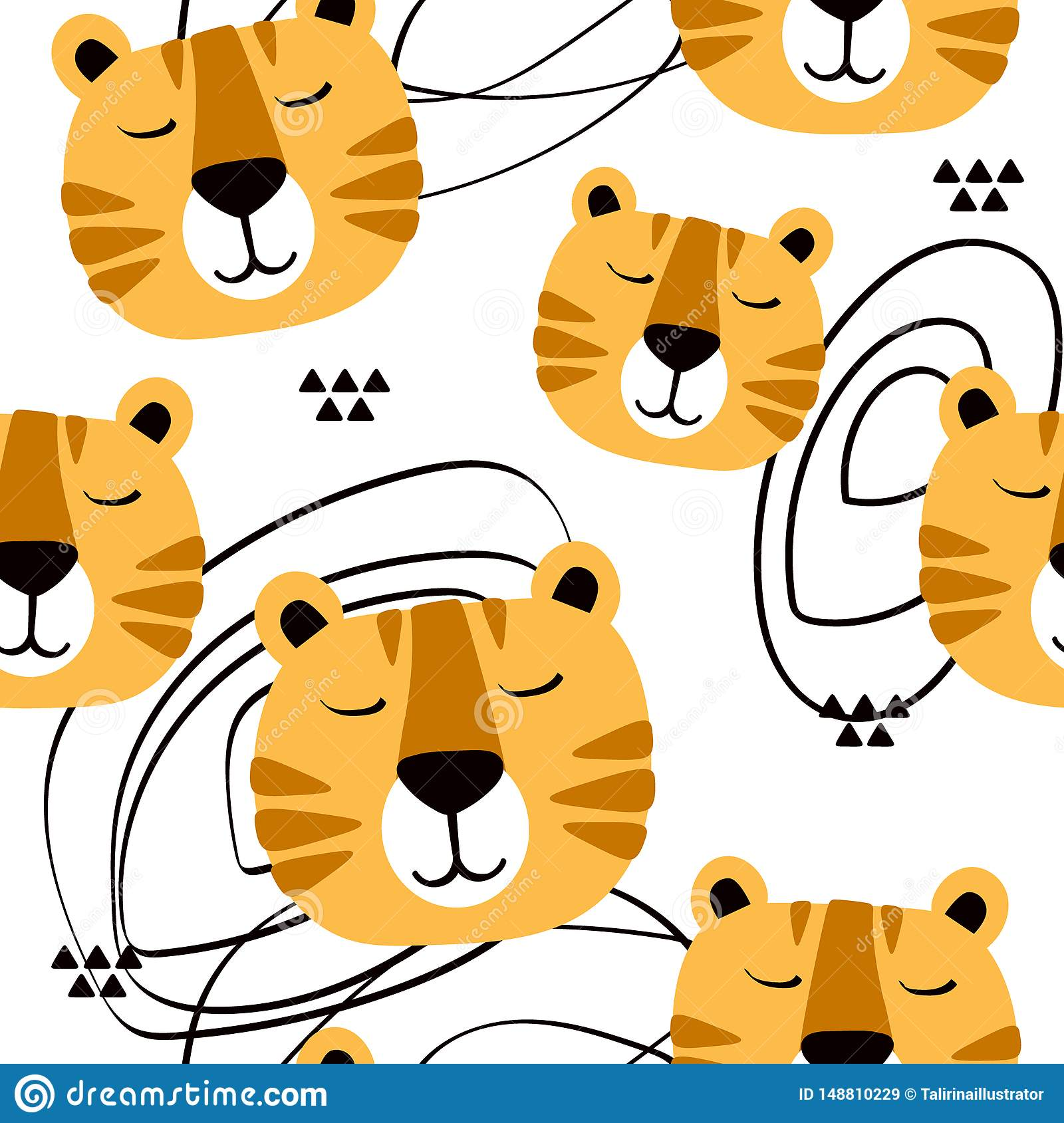 Museruola delle tigri, fondo sveglio decorativo Modello senza cuciture variopinto con le museruole degli animali