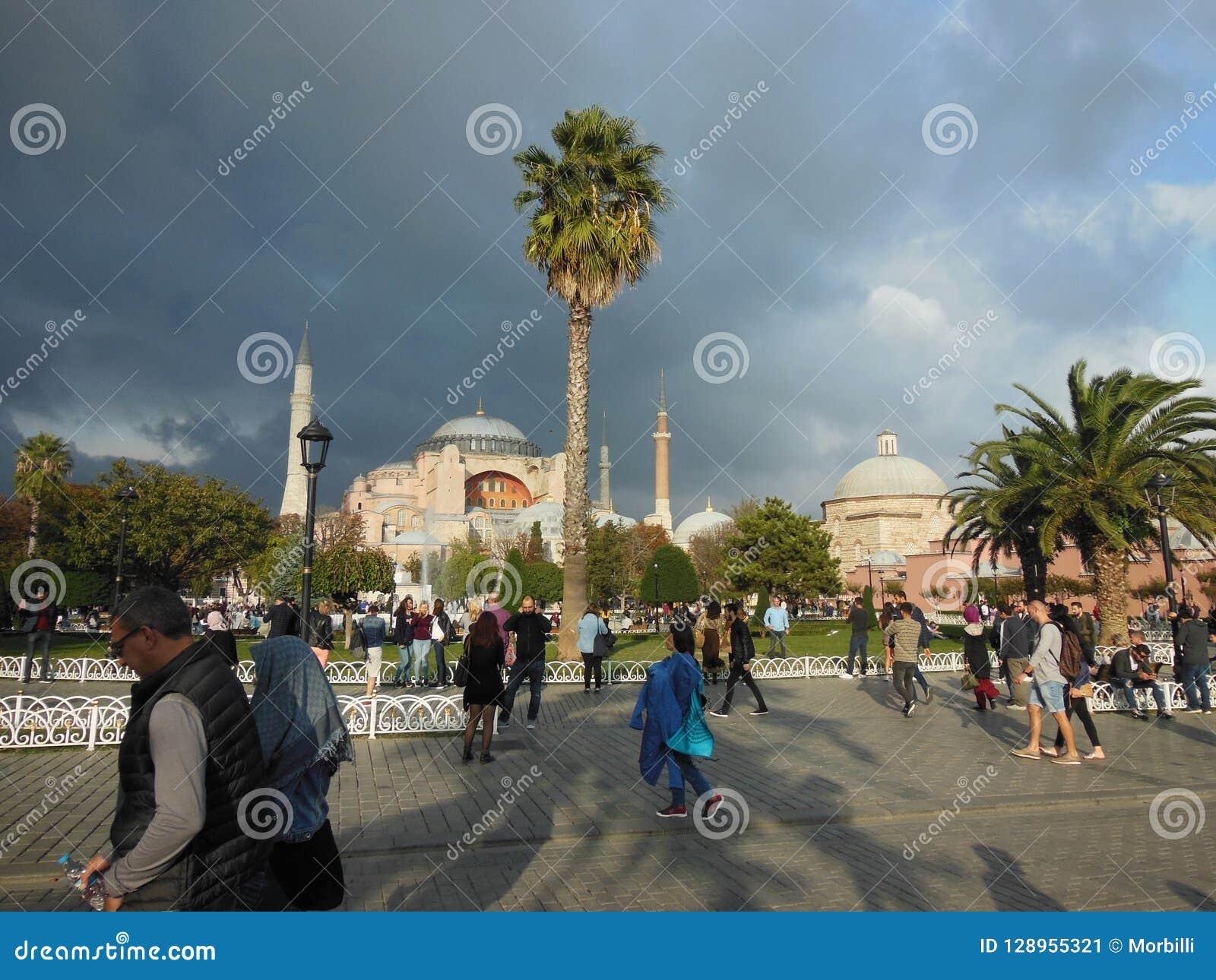 Museu azul do parque e do Hagia Sophia de Archaeroligical no fundo, Istambul