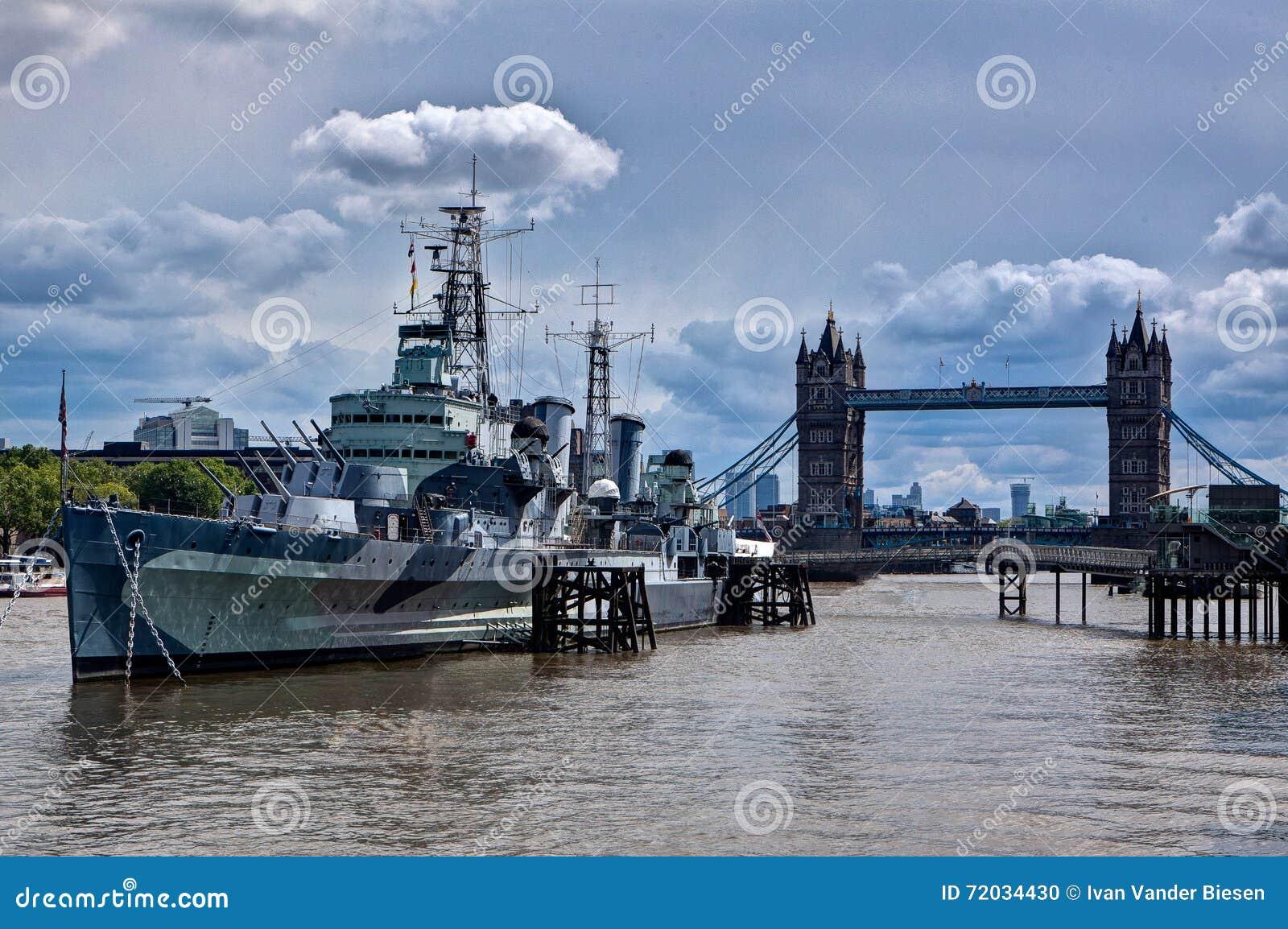 Museu Belfast do navio de guerra, ponte da torre, Tamisa, Londres, Inglaterra