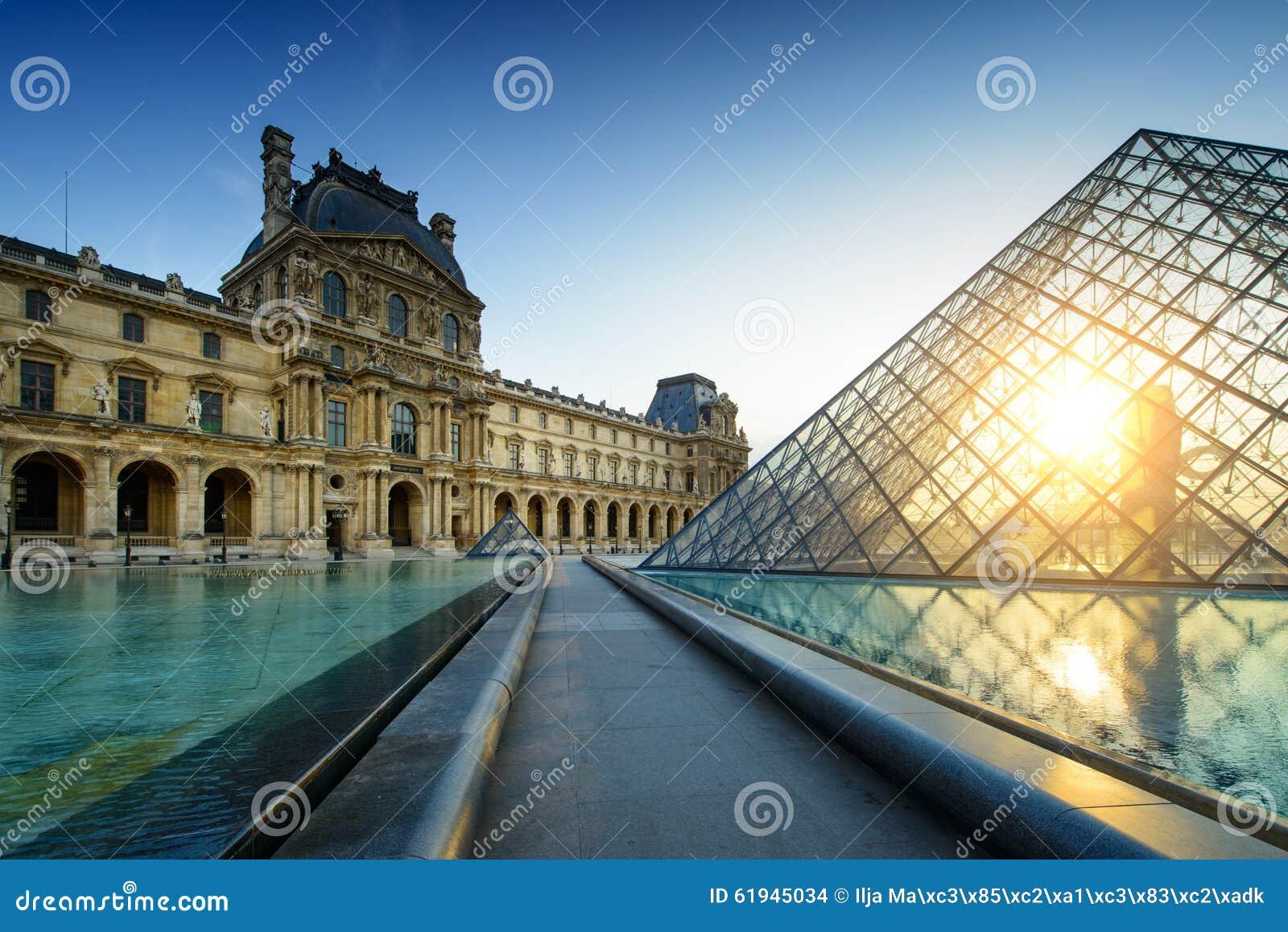 Museu Paris do Louvre no por do sol